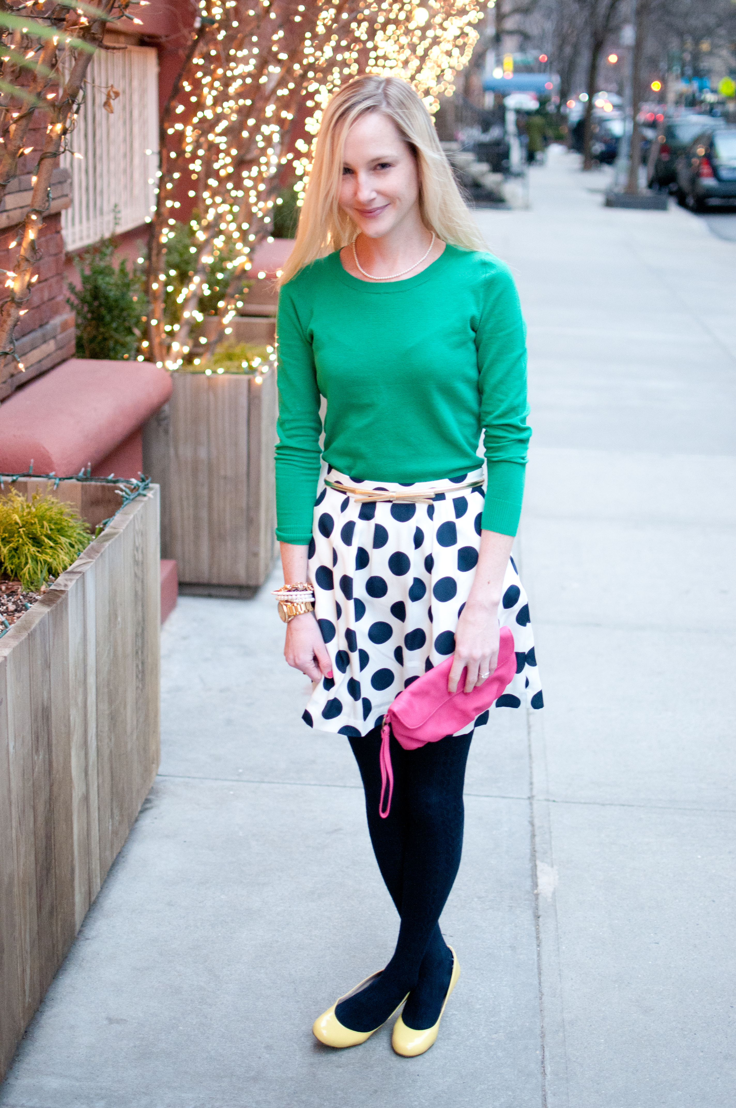 www.kellyinthcity.com polka dots J.Crew green