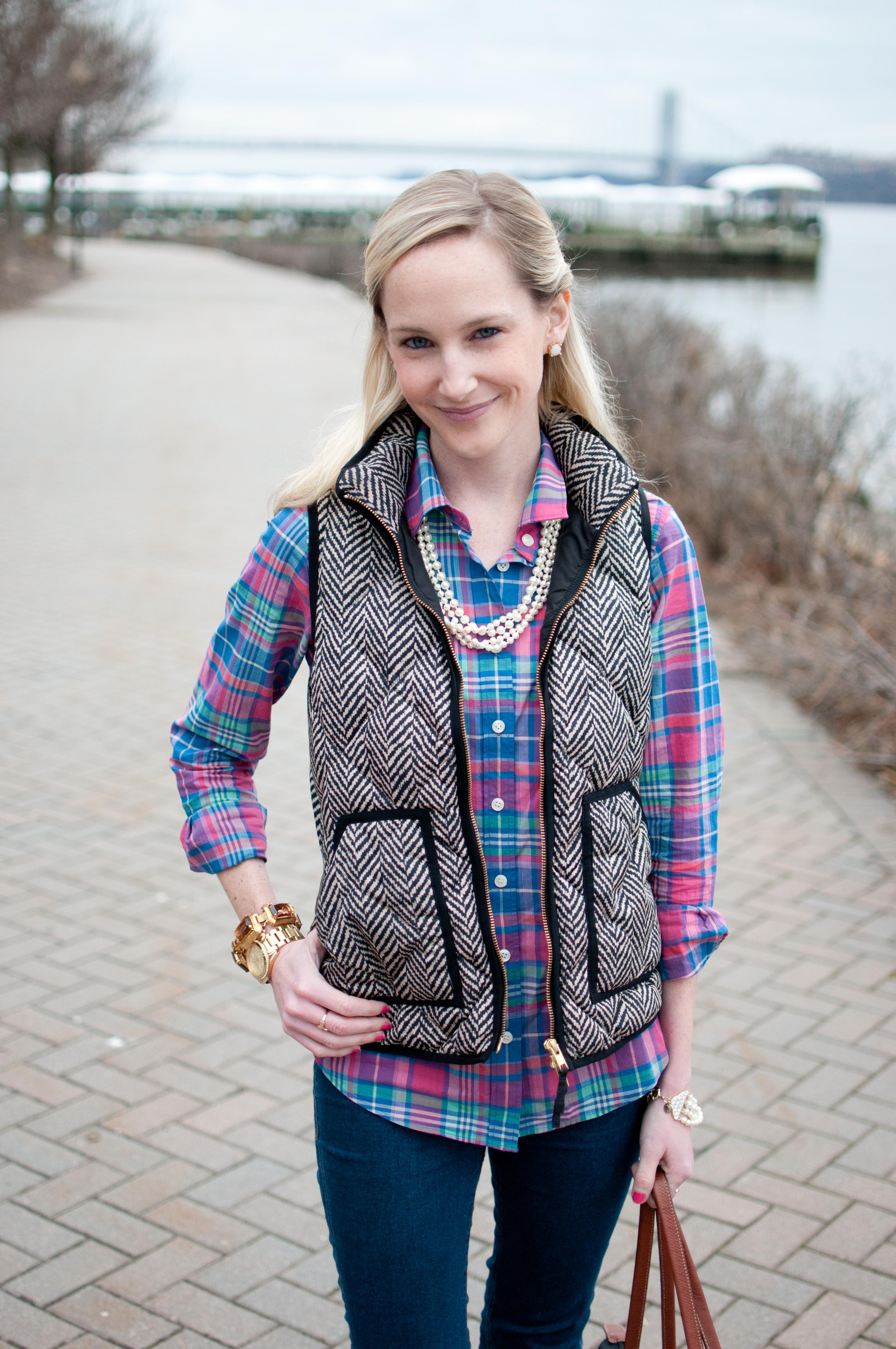 The Herringbone Puffer Vest Kelly In The City
