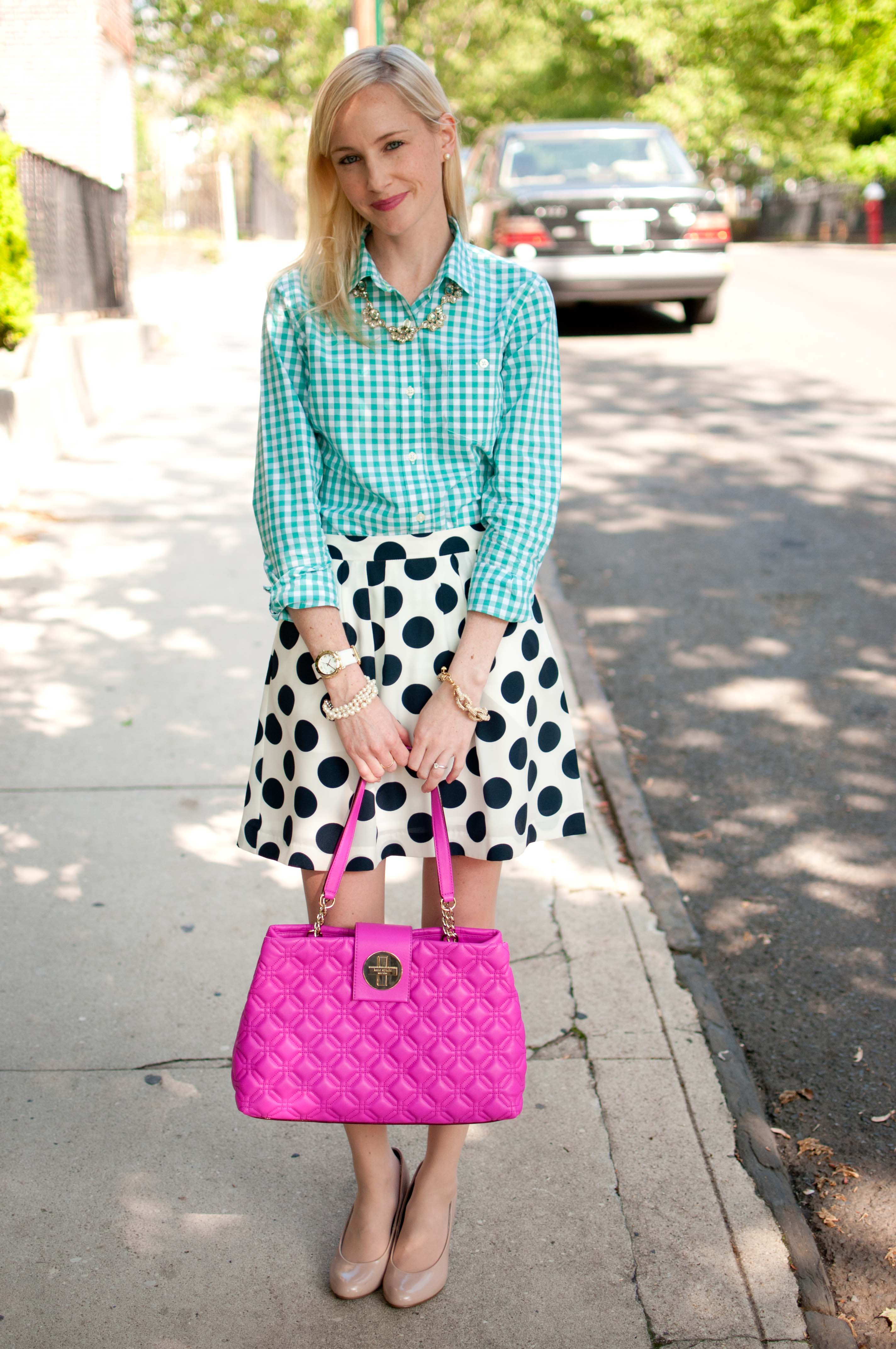 Gingham and Polka Dots for a Night Out with the Cousins - Kelly in ...