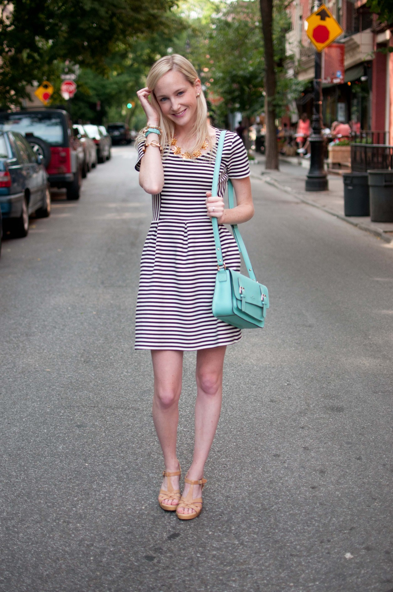 Striped Dresses Turquoise Bags And Gold Accents For A