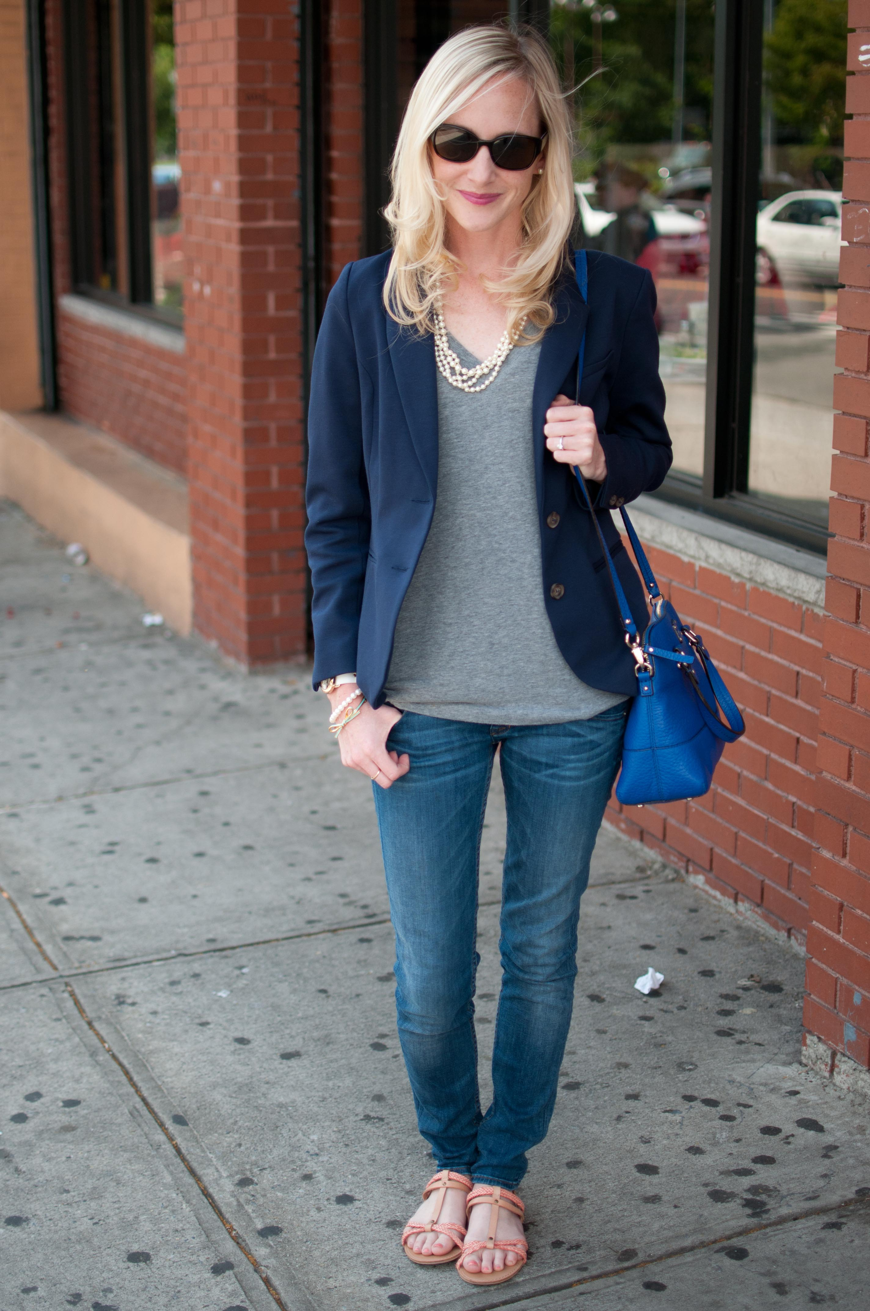 Casual Friday Jeans T Shirts And Bright Blue Bags