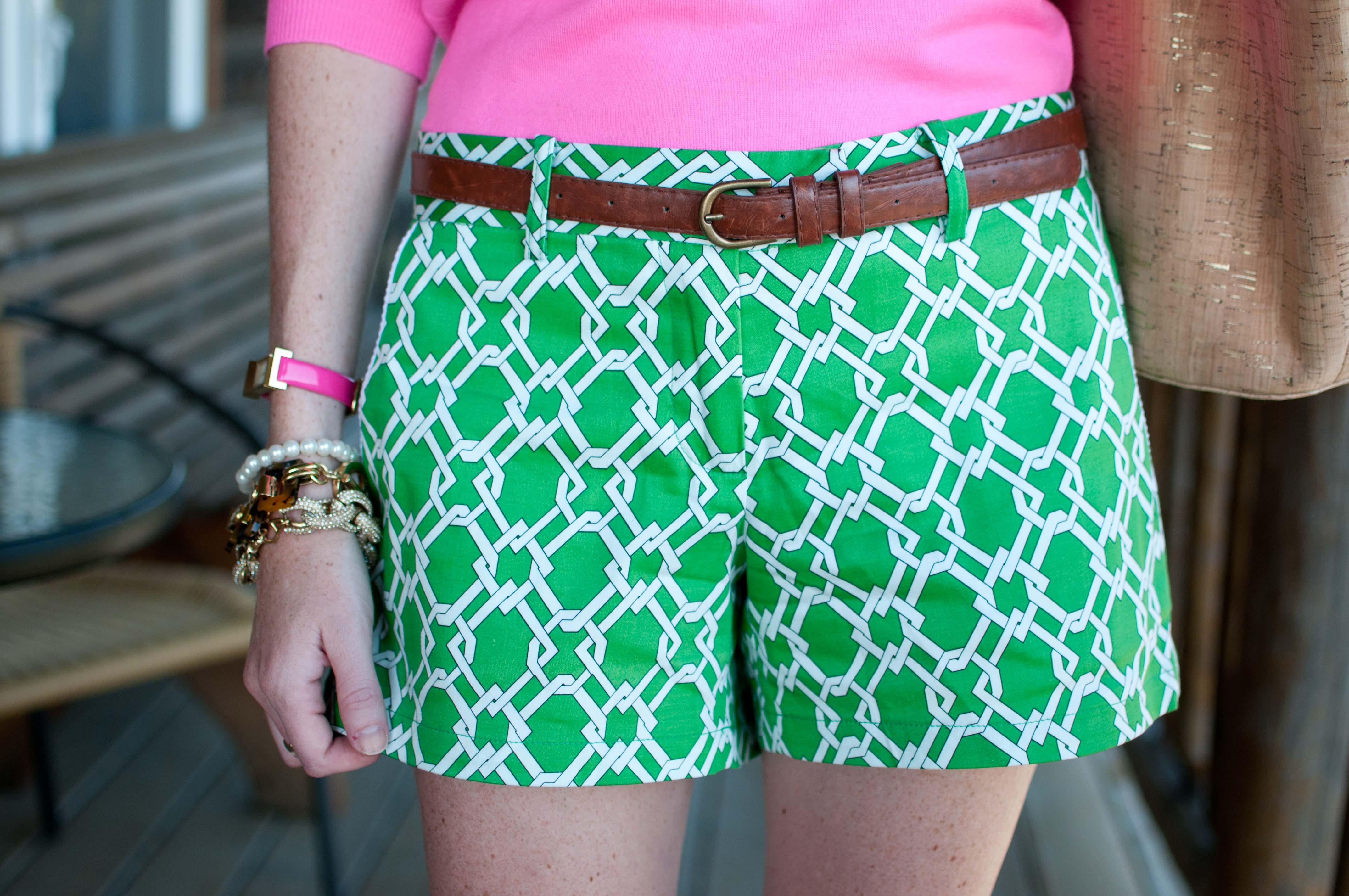 Julie Brown Pretzel Shorts Hot Pink Monograms Amp Pearls