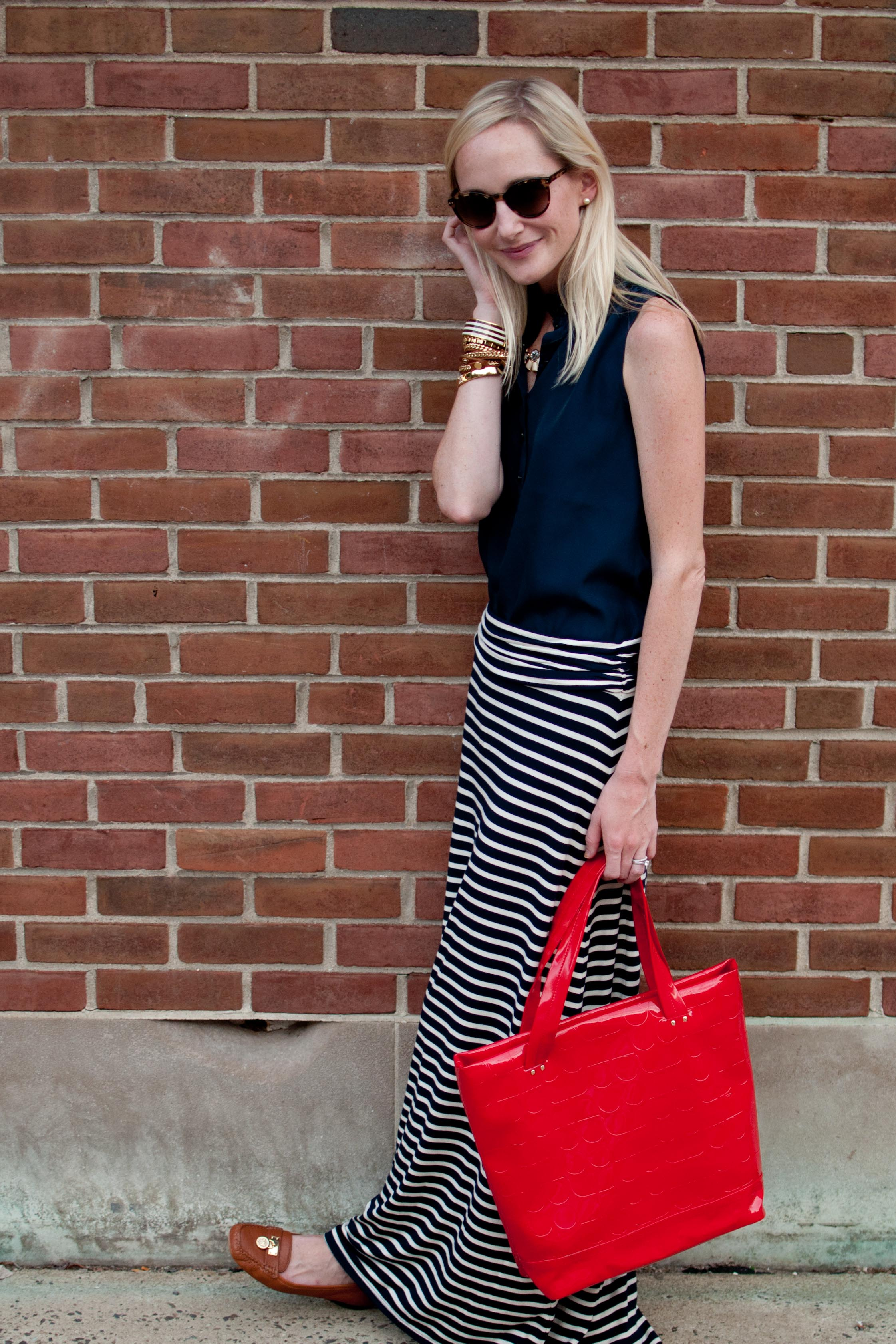 6a86435bea Striped Maxi Skirts, Statement Necklaces and Red Totes - Kelly in ...