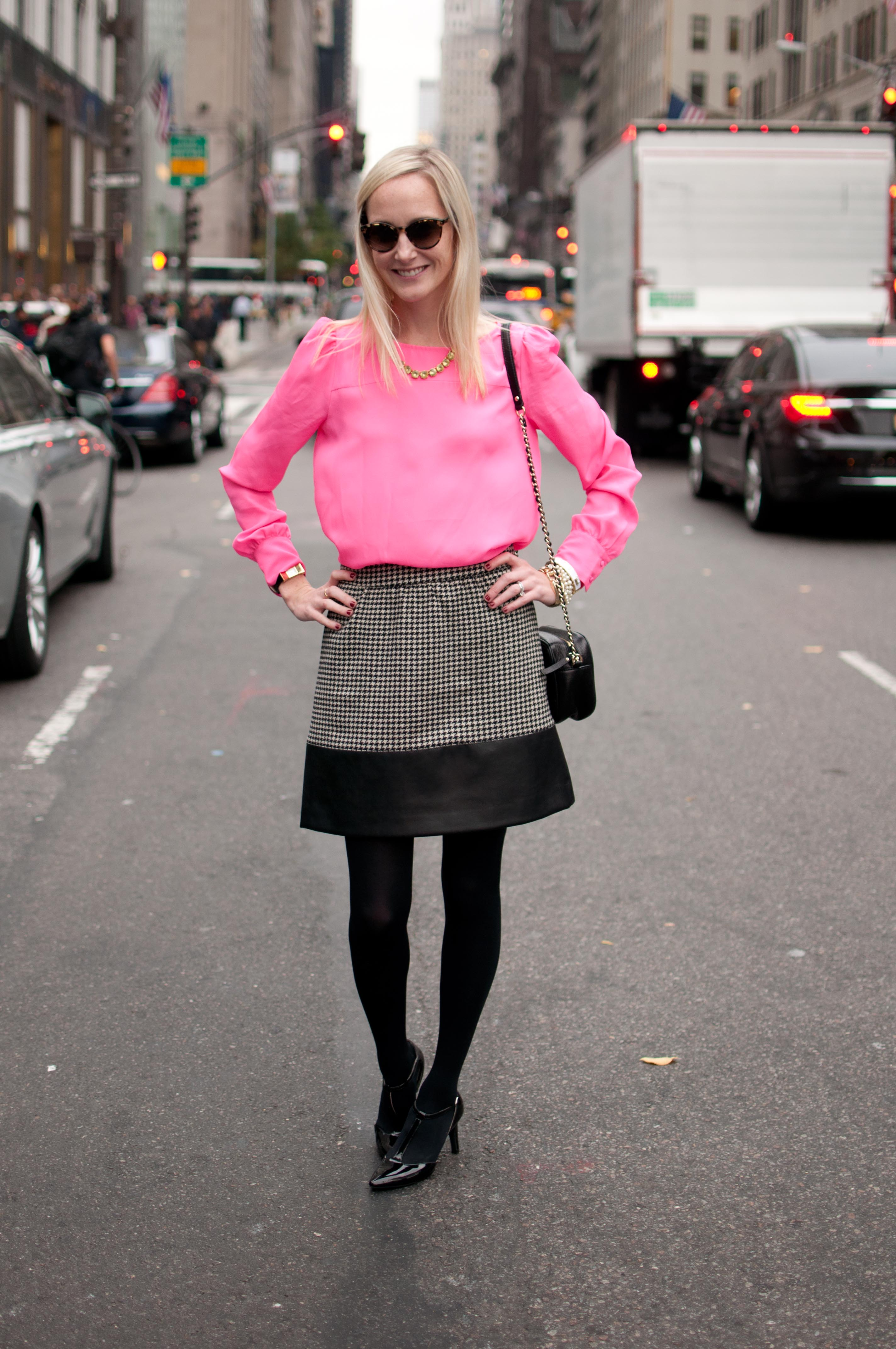 Windy Days On Fifth Avenue Leather Trimmed Skirts Chunky