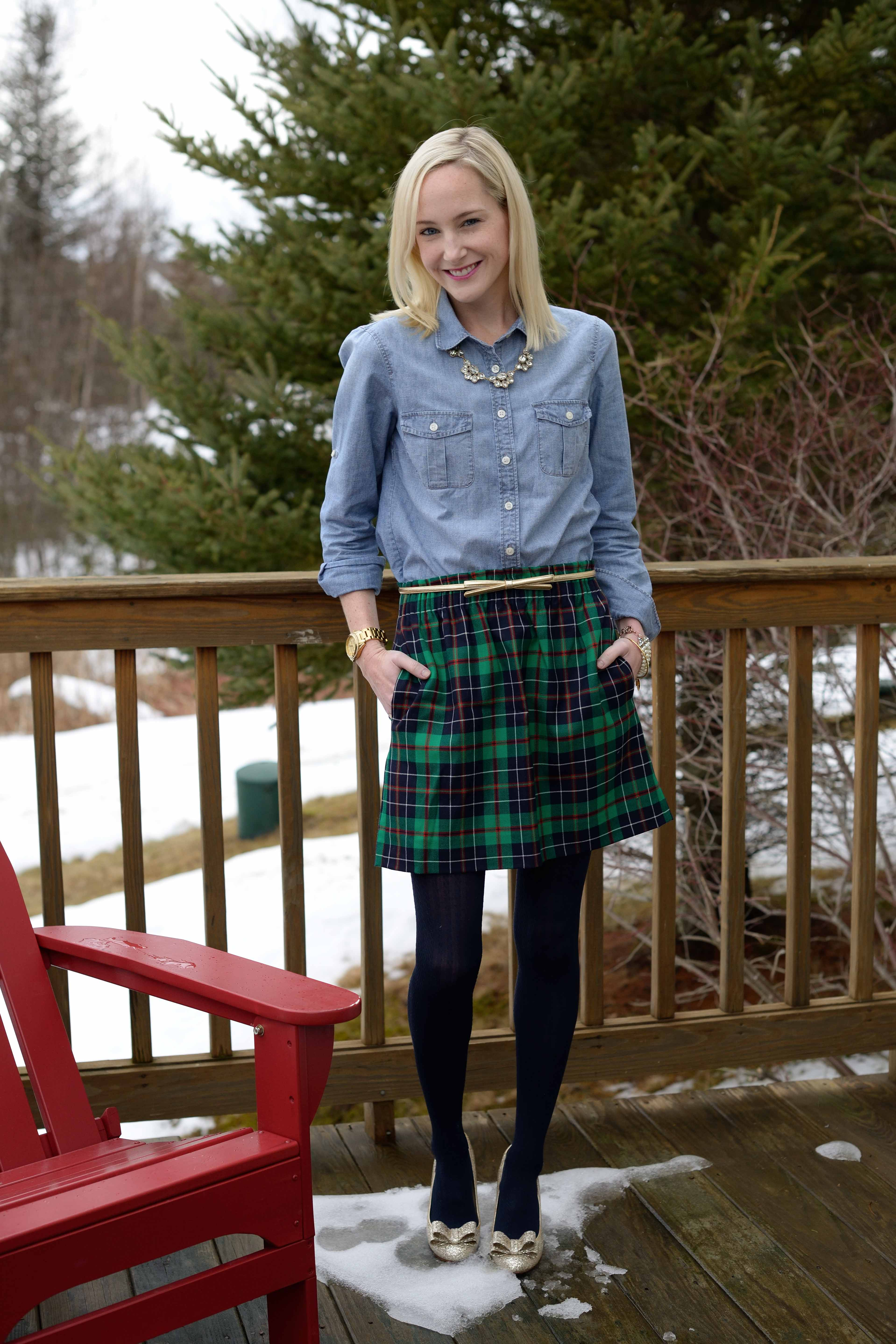 Christmas In Vermont Plaid Skirts Chambray Tops And Glittery Pumps