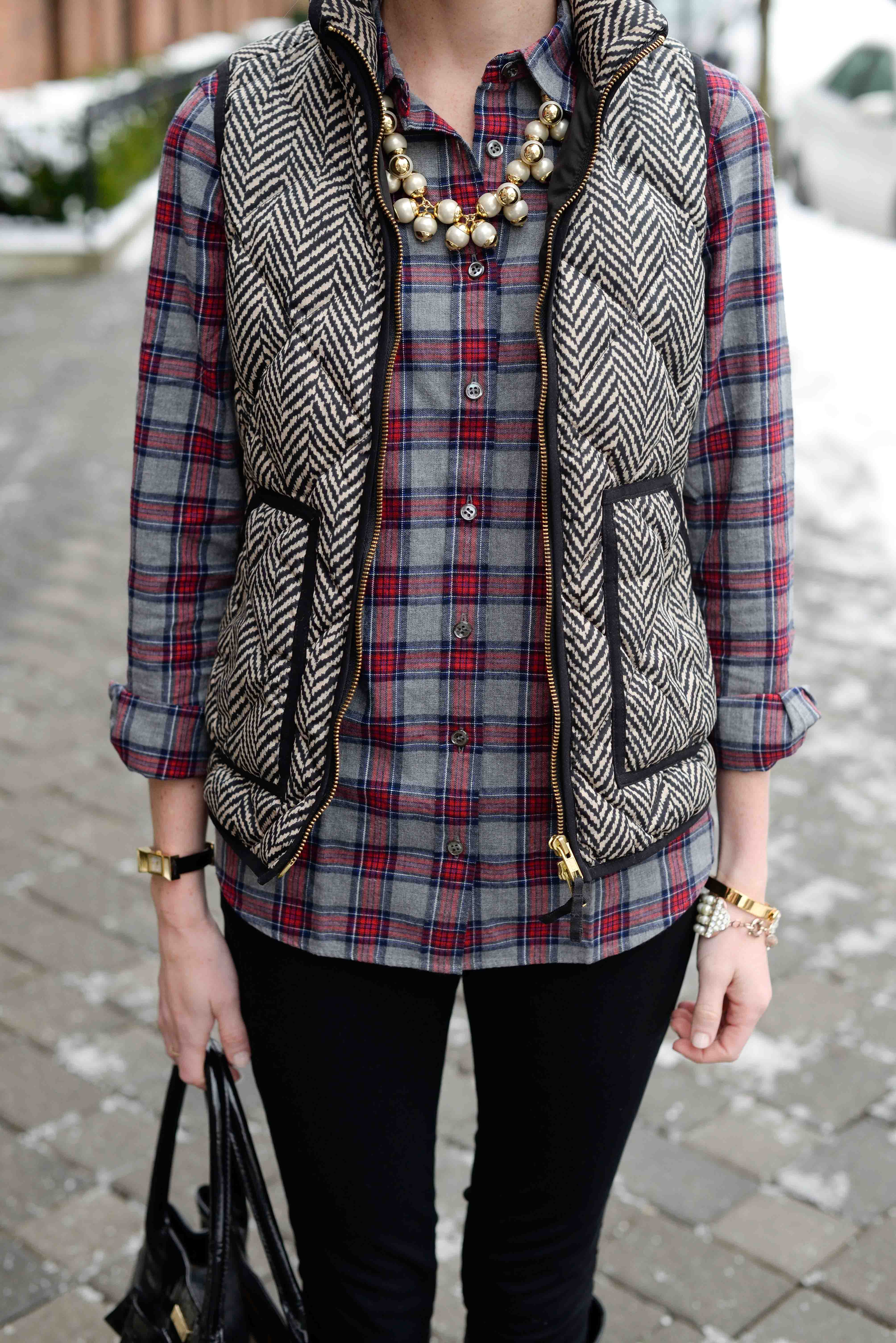 Weekend uniform flannel shirts comfy leggings and puffer for Flannel shirt and vest