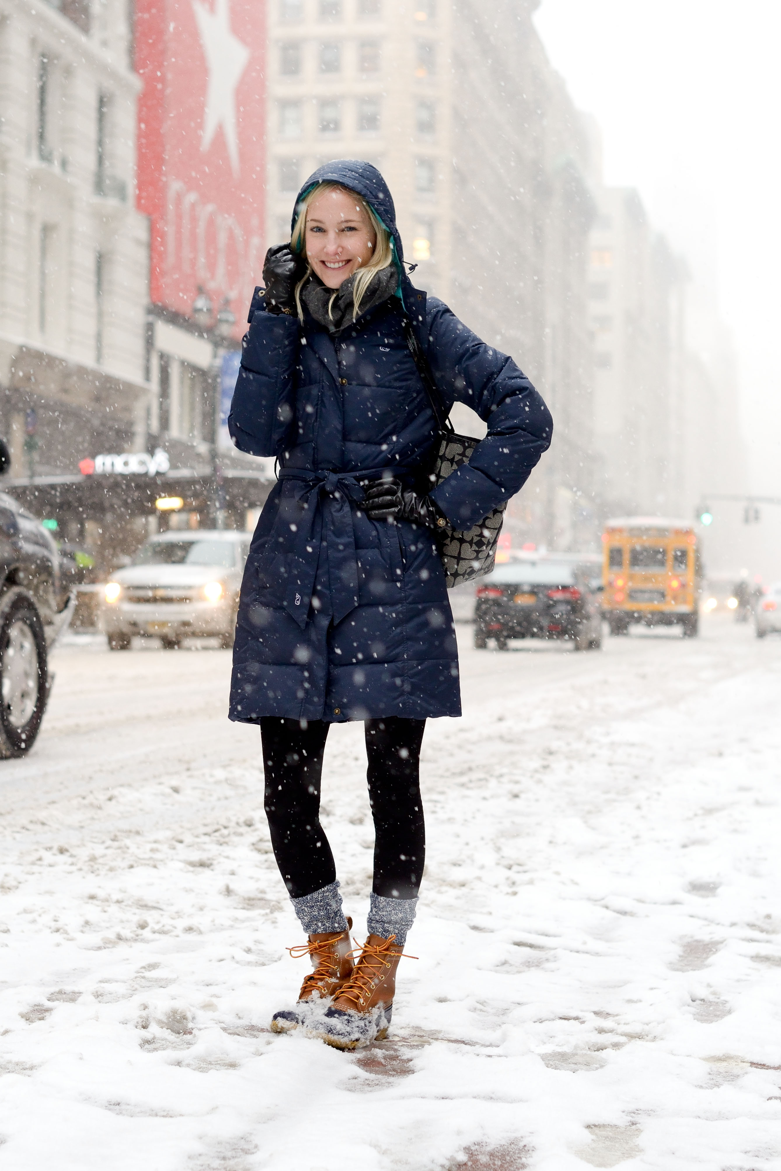 Snowflakes In Manhattan Puffer Coats Camp Socks And Bean