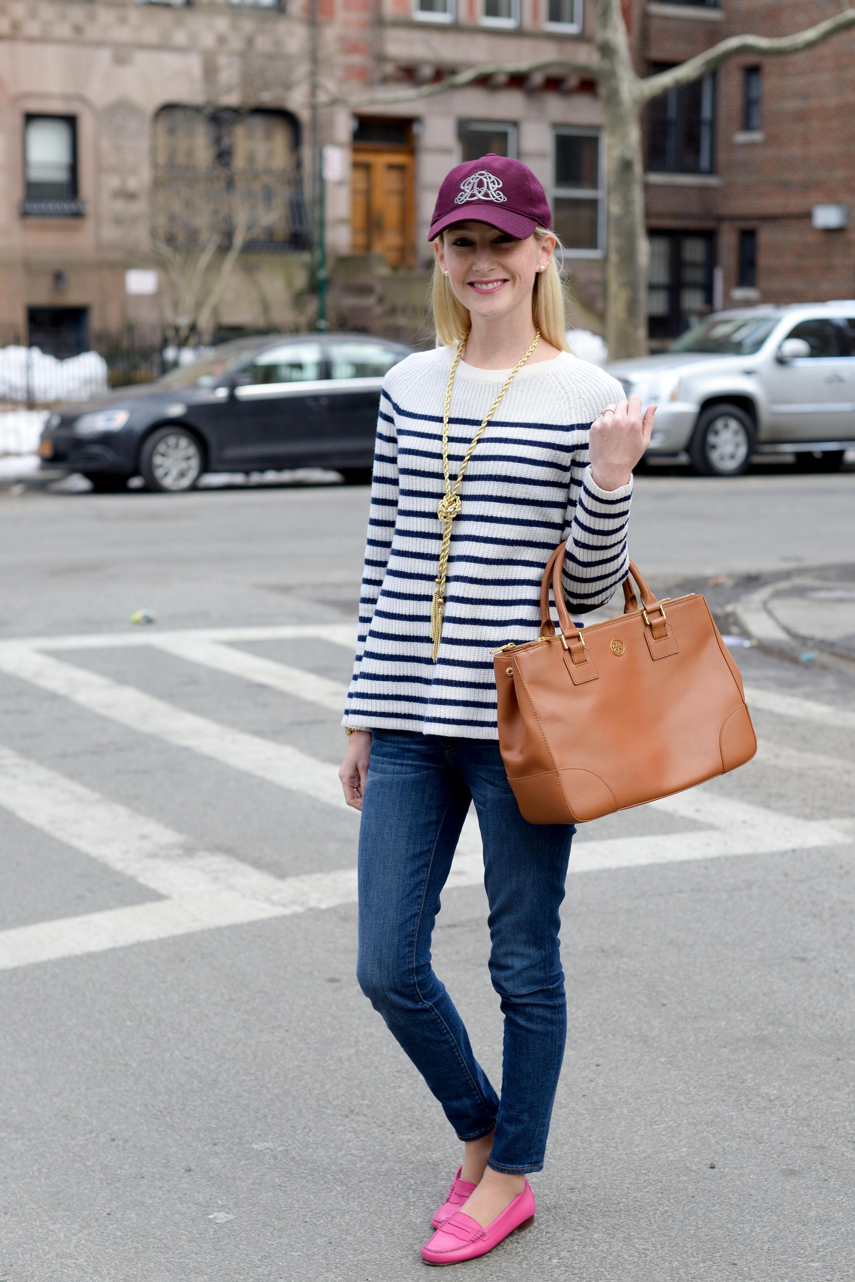 madewell striped elbow patch sweater-5