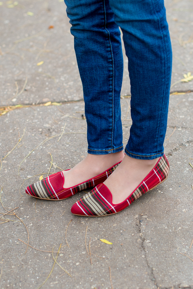 Joie Day Dreaming Plaid Loafers Smoking Flats-100