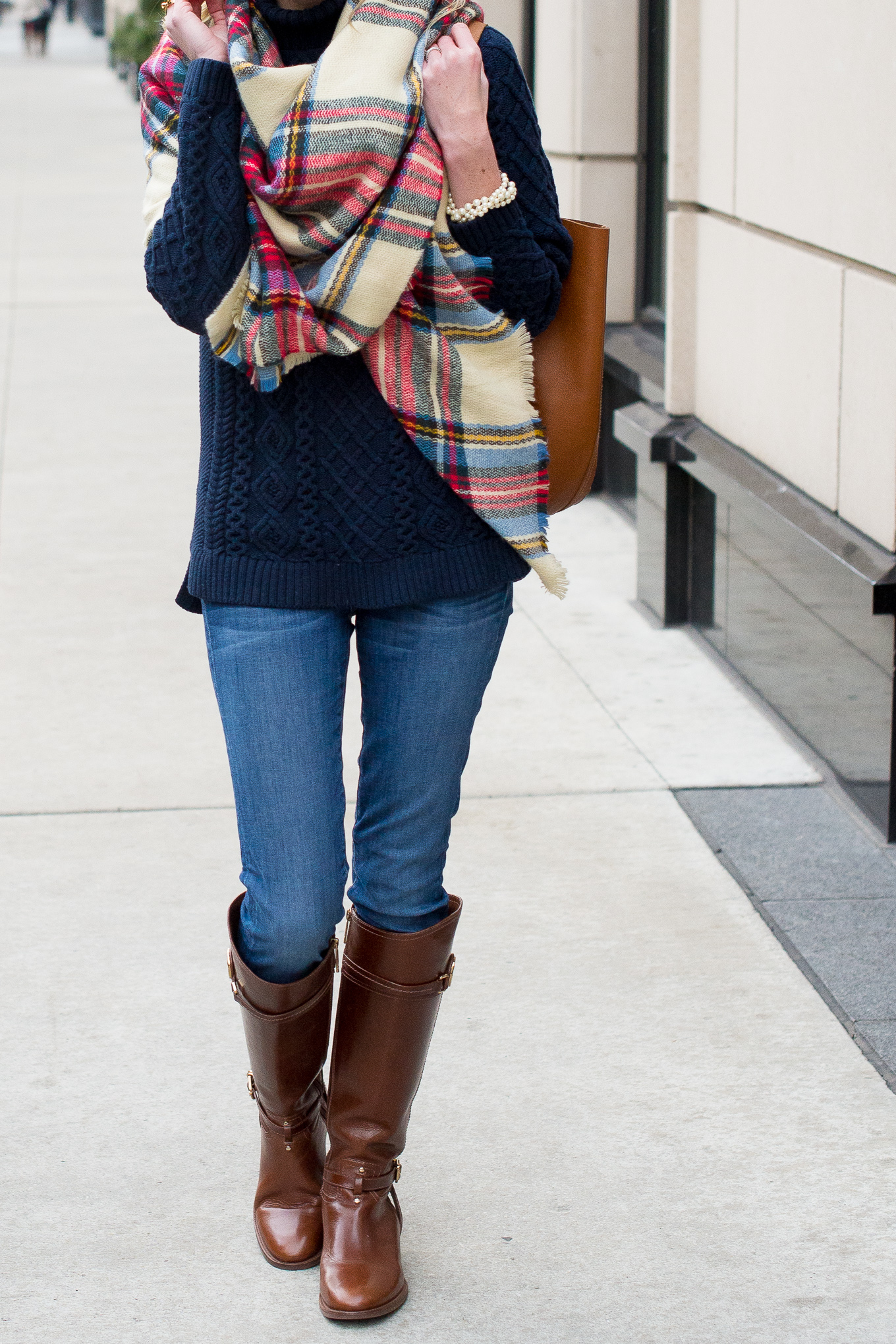 Plaid Blanket Scarf-12