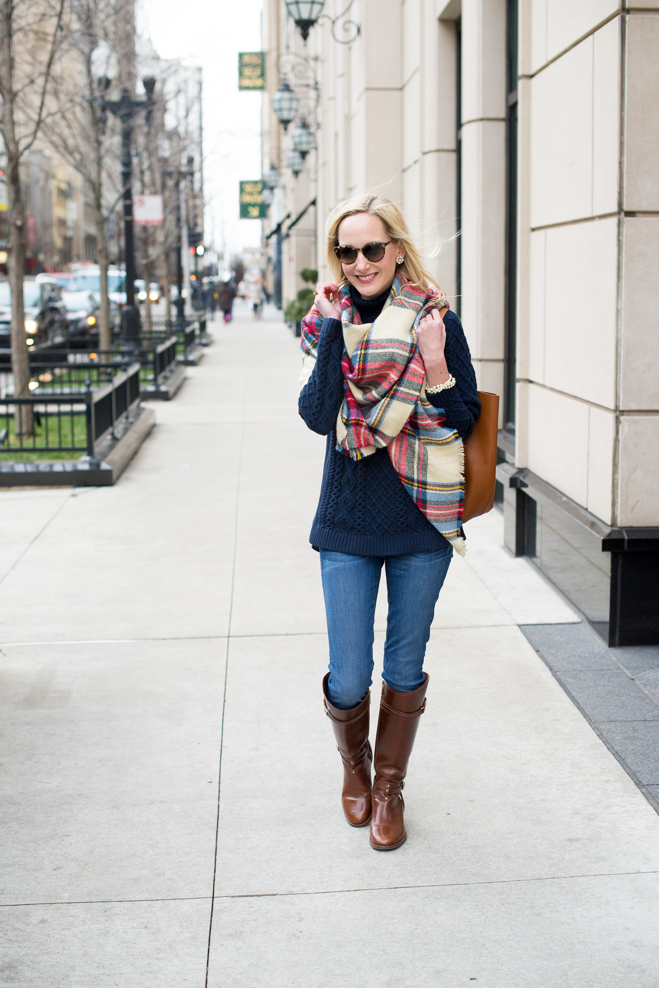 Plaid Blanket Scarf-13