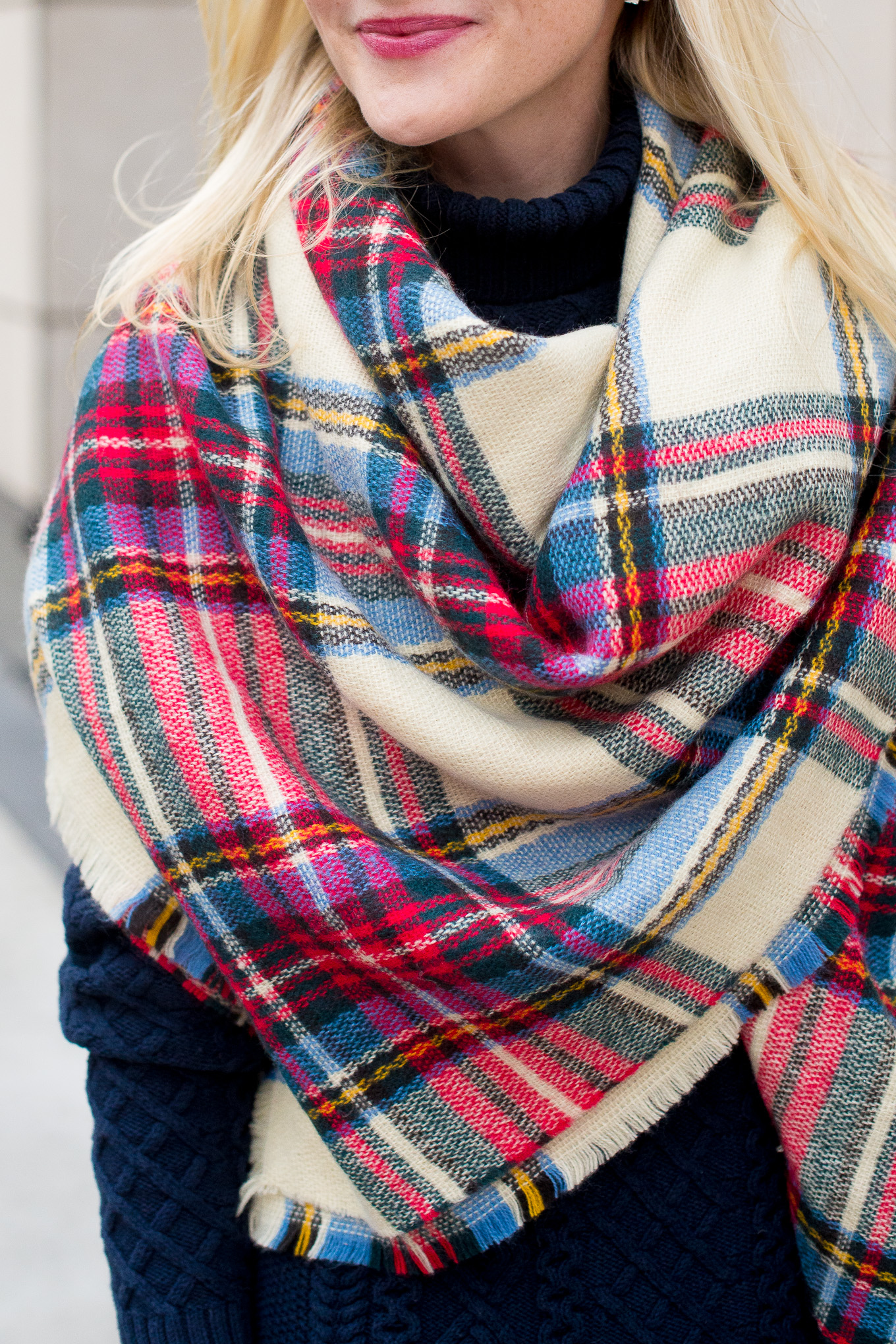 Plaid Blanket Scarf-5