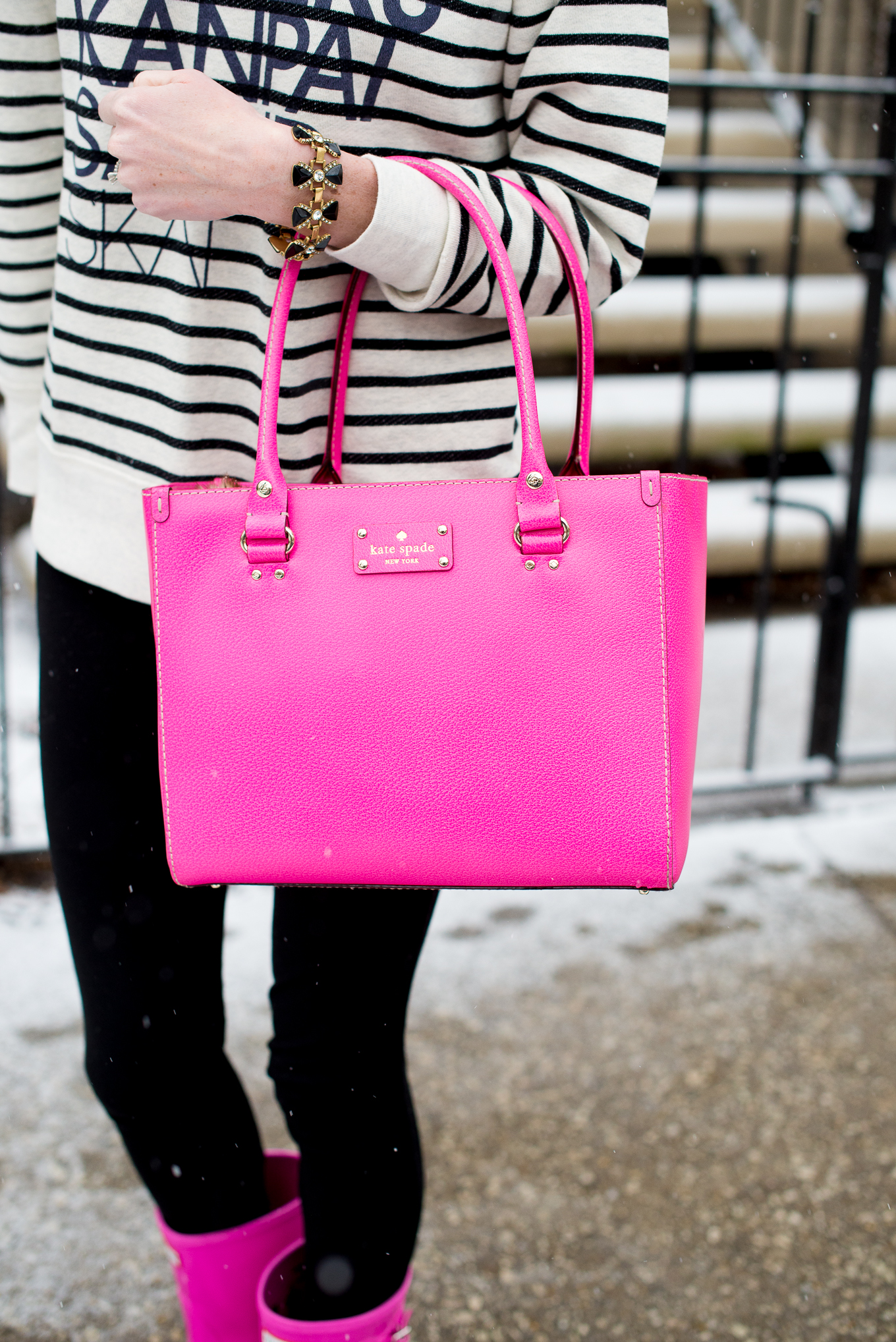 hot pink hunter boots kelly in the city