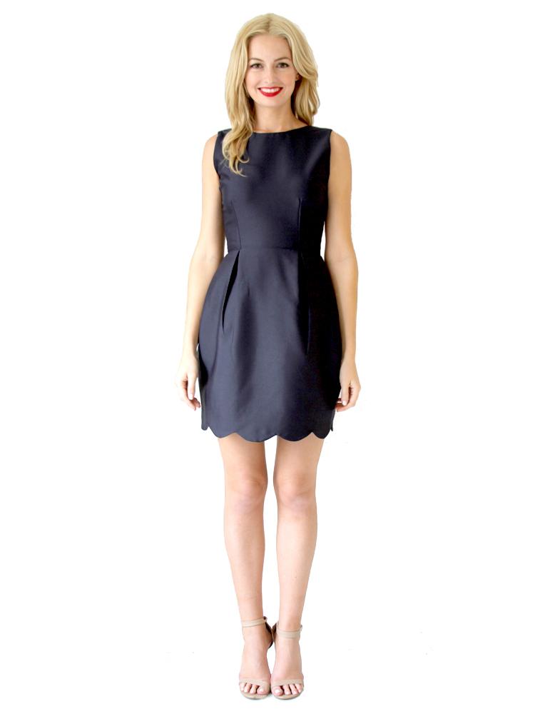 Camilyn Beth Navy Scalloped Dress