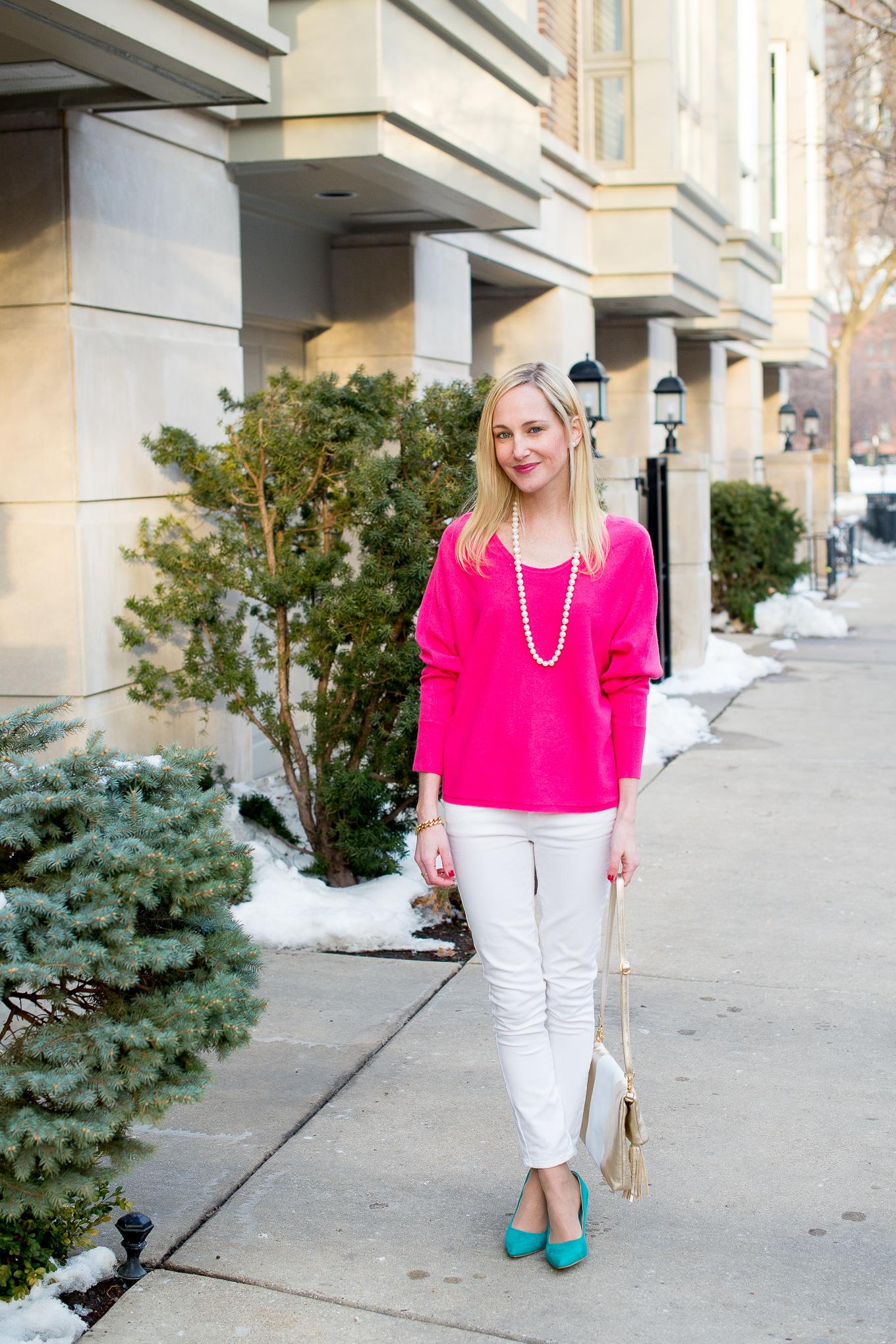 Garnet Hill Pink Cashmere Sweater-1