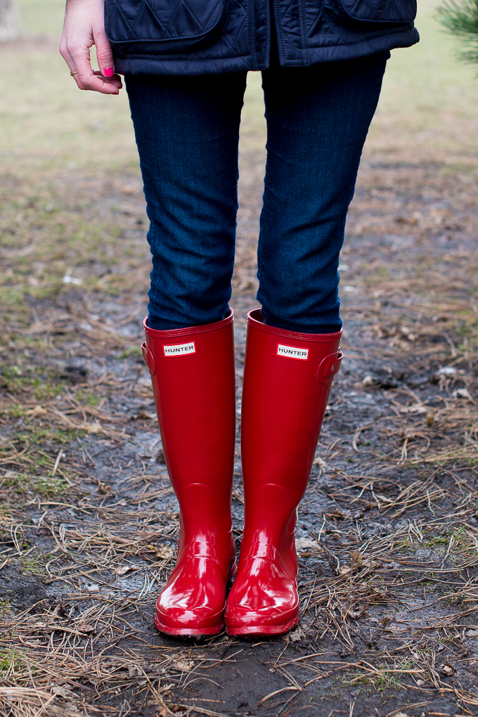 Red Hunter Boots Tall Glossy-15