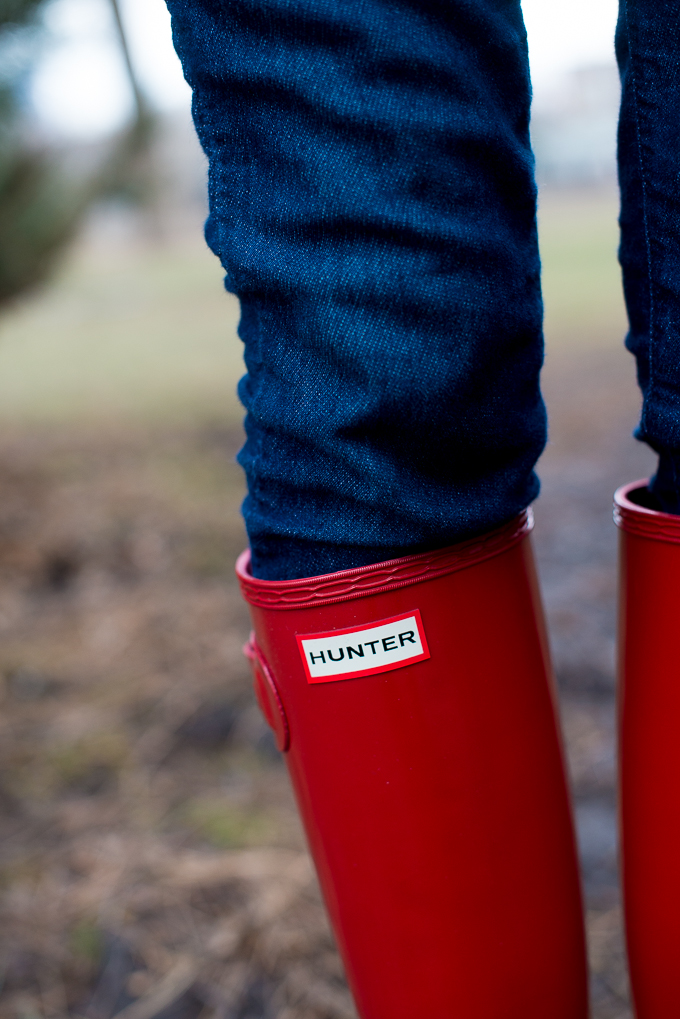 Red Hunter Boots Tall Glossy-16