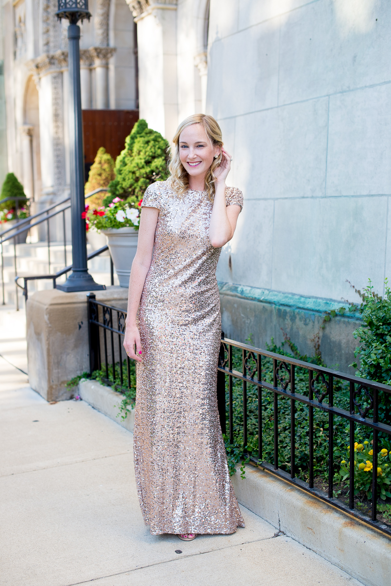 Badgley Mischka Long Sequin Bridesmaid Dress-14
