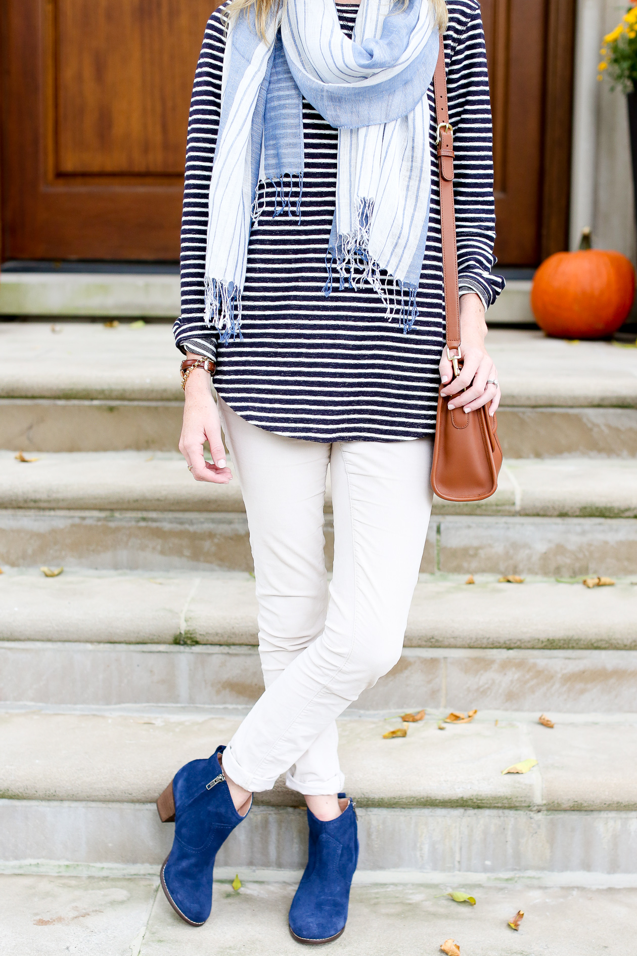 Easy Fall Looks with Lands End Kelly in the City : Navy suede booties 31 from kellyinthecity.com size 1260 x 1890 jpeg 993kB