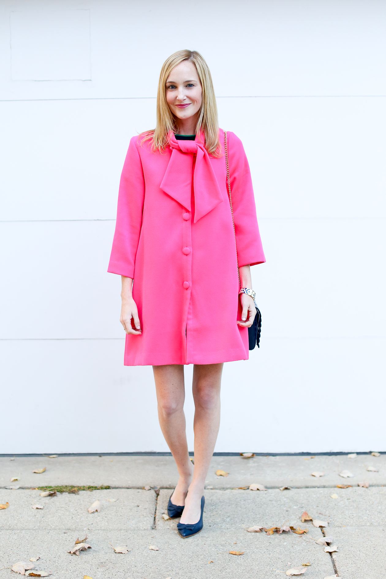 Pink Bow Coat - Kelly in the City