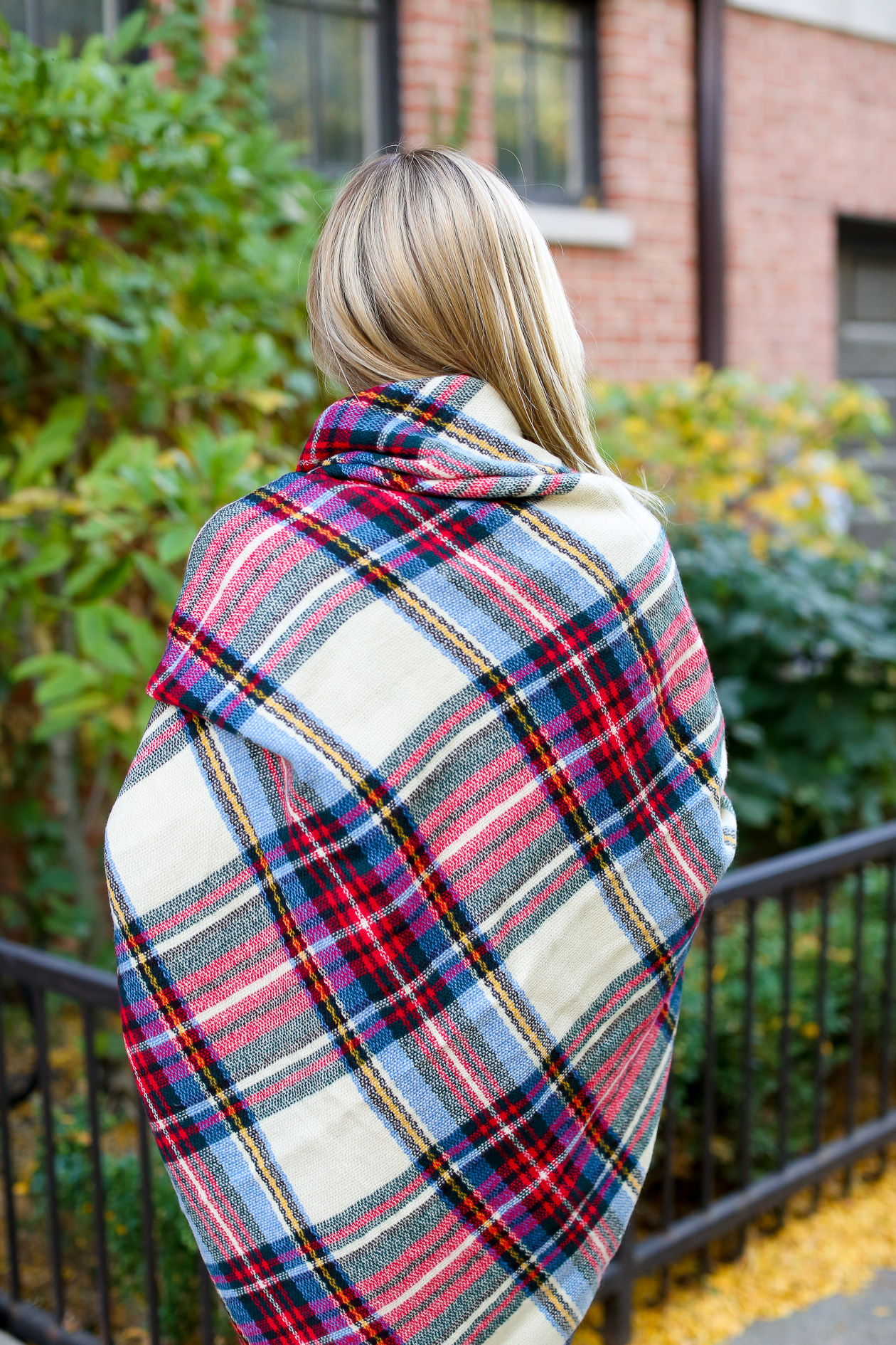 Plaid blanket scarf with dress-27