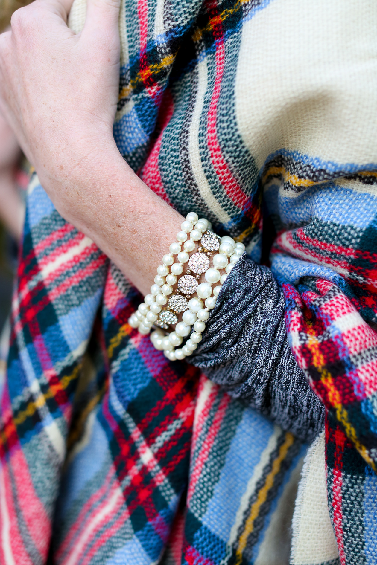 Plaid blanket scarf with dress-28