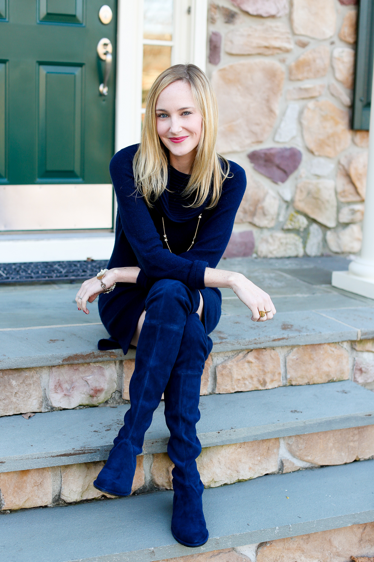 Stuart Weitzman Lowland Boots In Navy Kelly In The City