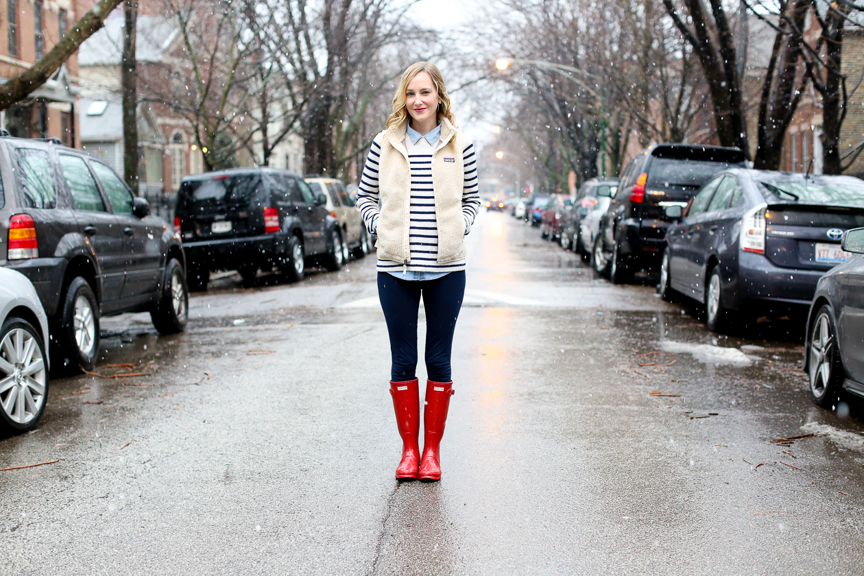 red glossy hunter boots chicago blogger-13