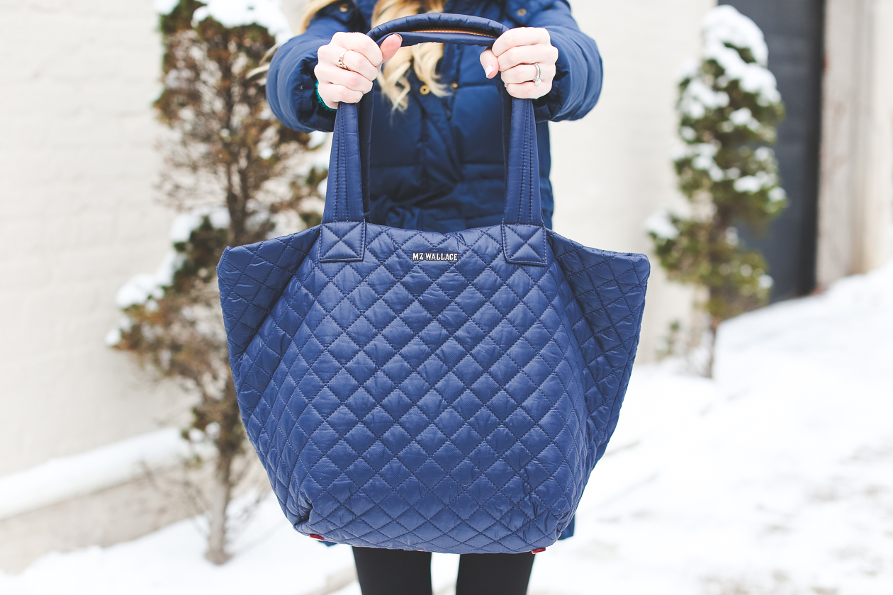 MZ Wallace Quilted Tote Navy-3