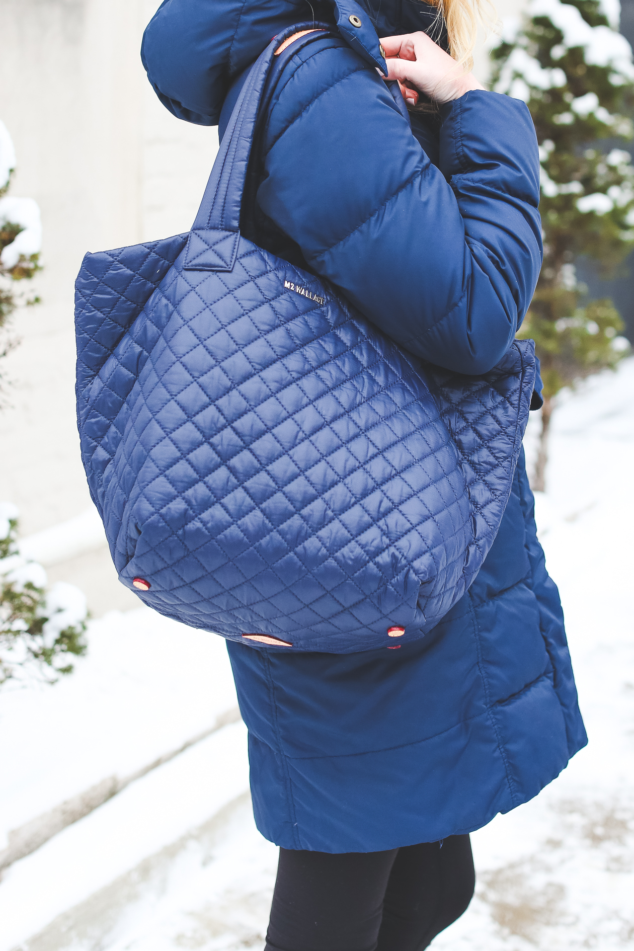 MZ Wallace Quilted Tote Navy-7
