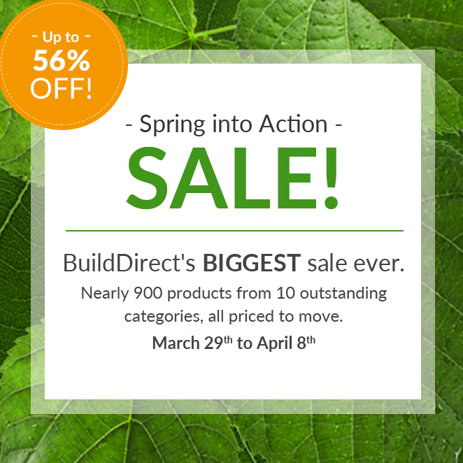 BuildDirect Spring Into Action Promo Graphic