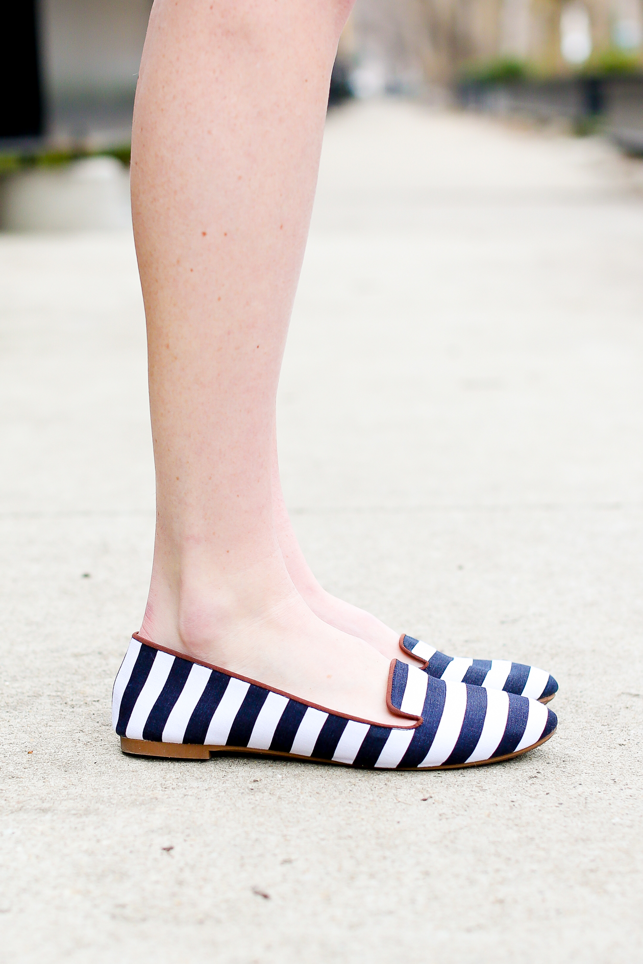H&M Navy and White Striped Flats-33