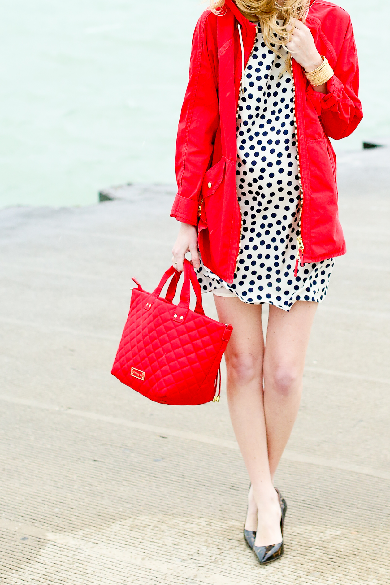 J.Crew CONVERTIBLE ZIP ANORAK JACKET Red-4