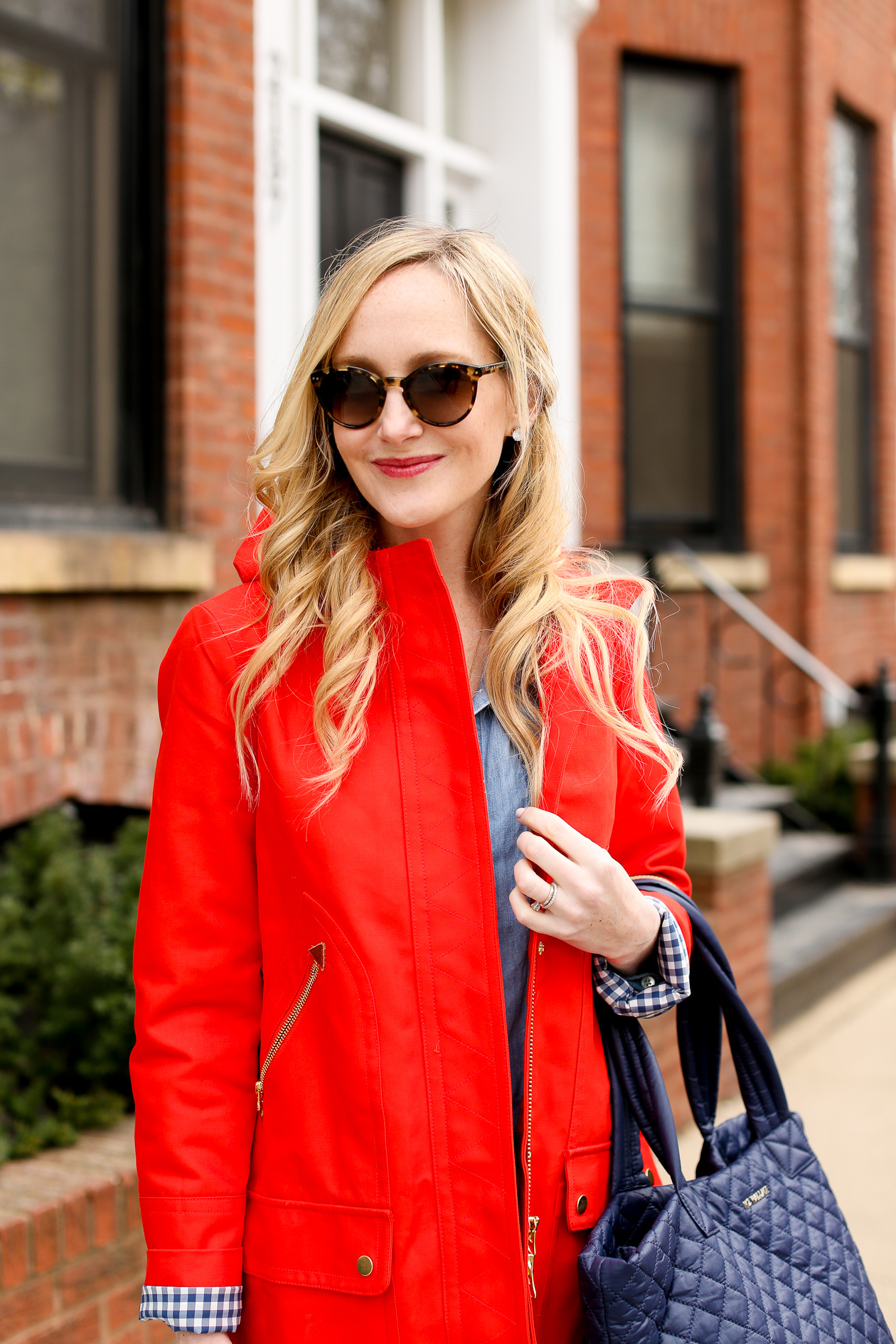J.Crew Red Chateau Gingham Trench-15