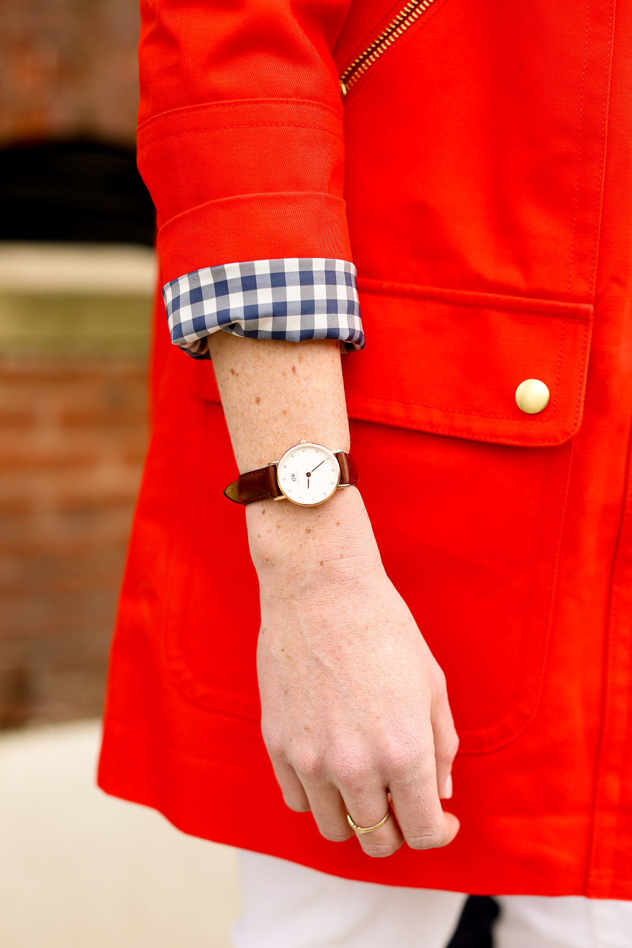 J.Crew Red Chateau Gingham Trench-201