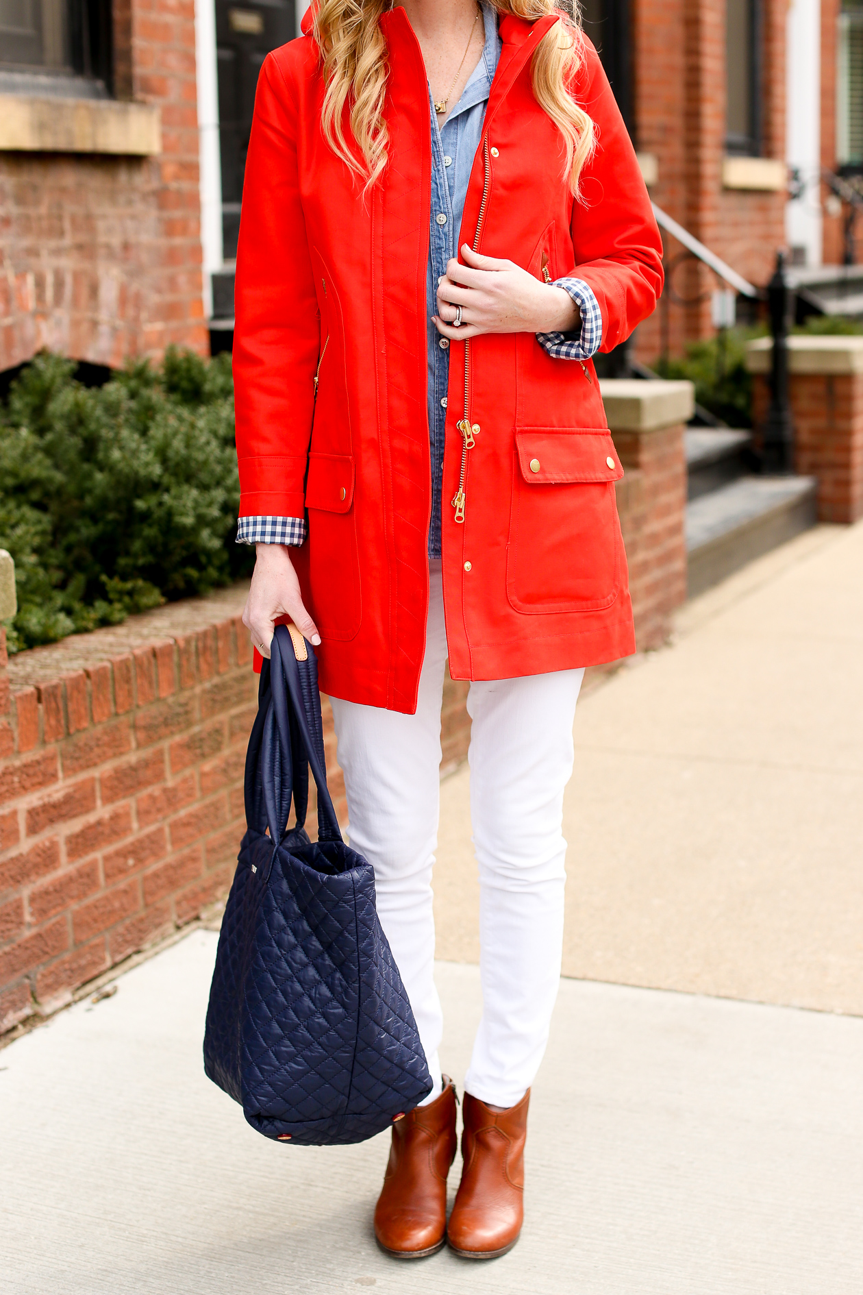 J.Crew Red Chateau Gingham Trench-24