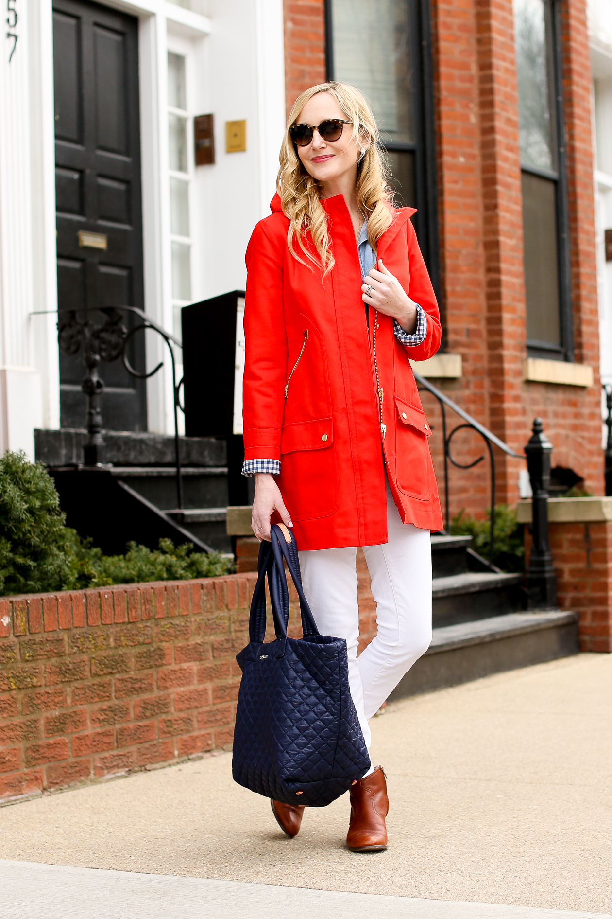 J.Crew Red Chateau Gingham Trench-31
