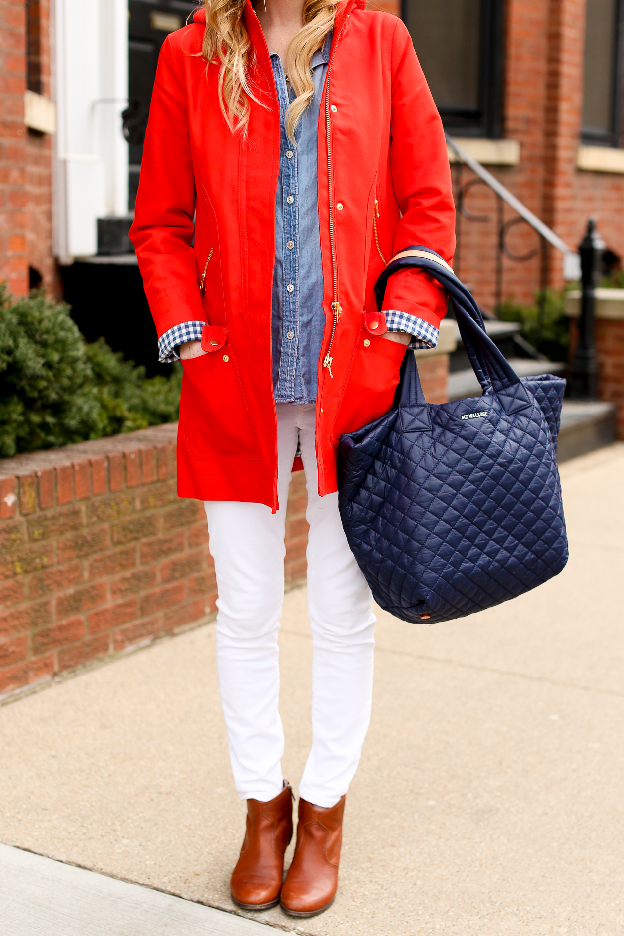 J.Crew Red Chateau Gingham Trench-35