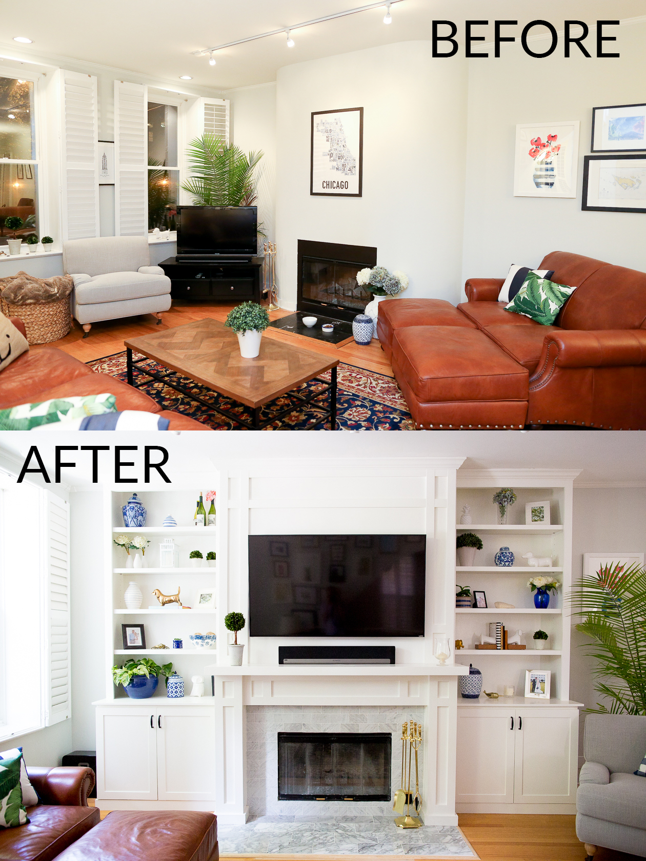 Living dining room reveal kelly in the city - Living room renovation before and after ...