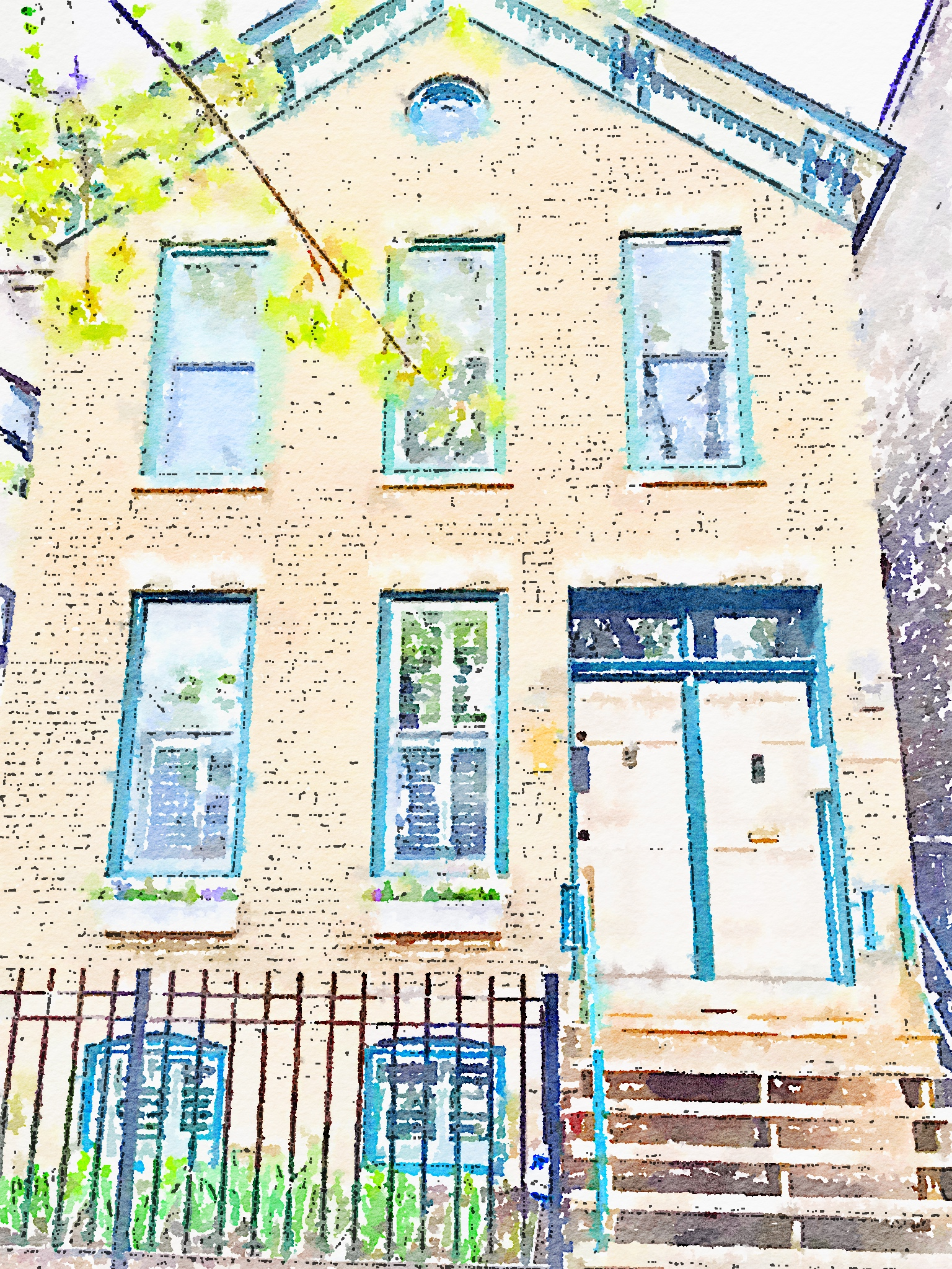 "Waterlogue 1.1.4 (1.1.4) Preset Style = Illustration Format = 10"" (Giant) Format Margin = None Format Border = Straight Drawing = Technical Pen Drawing Weight = Light Drawing Detail = Medium Paint = Natural Paint Lightness = Darker Paint Intensity = More Water = Tap Water Water Edges = Medium Water Bleed = Average Brush = Natural Detail Brush Focus = Everything Brush Spacing = Medium Paper = Watercolor Paper Texture = Medium Paper Shading = Light Options Faces = Enhance Faces"