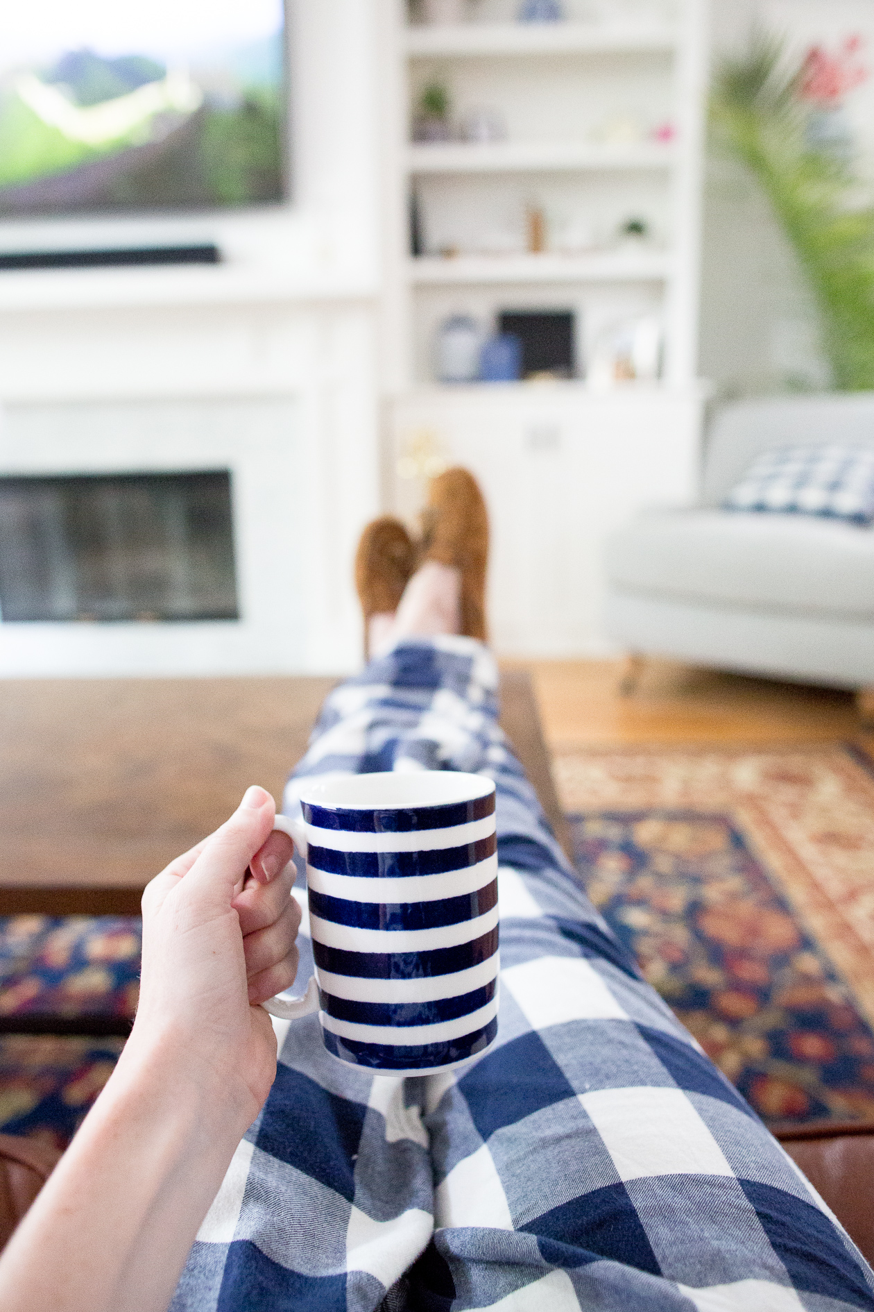 Kate Spade Navy Striped Coffee Cup-1