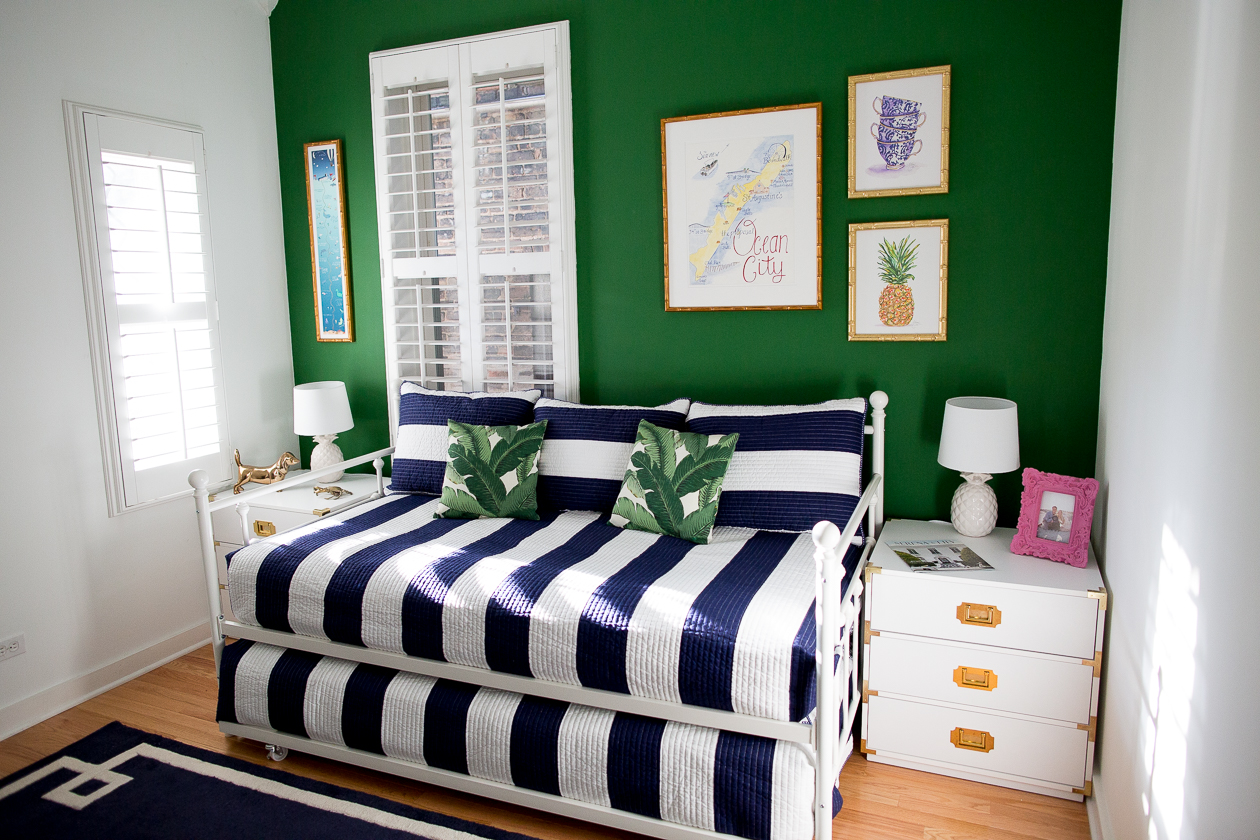 preppy-green-walls-gold-frames-7