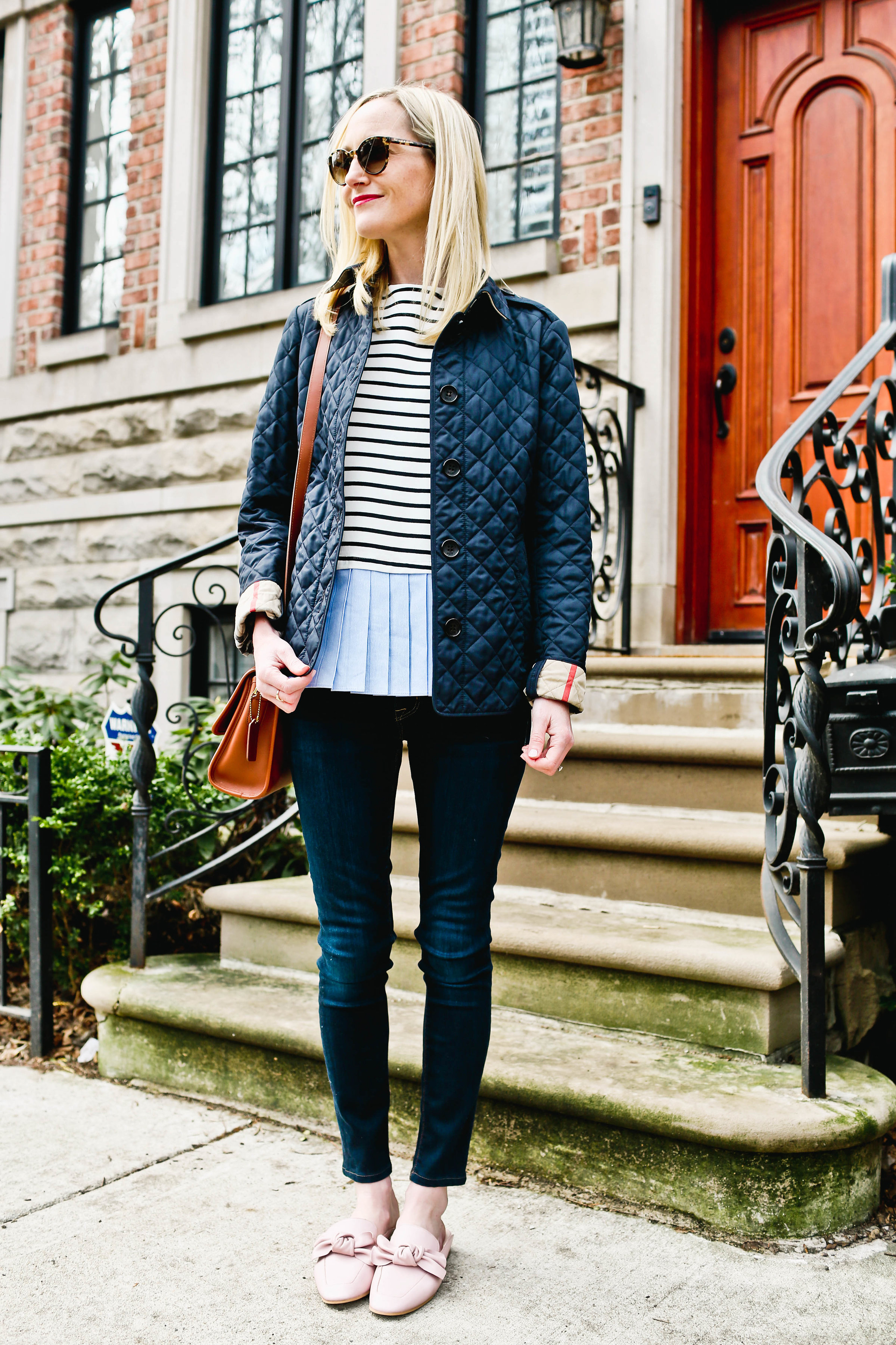 Pleated Top / Bow Mules  / Burberry Jacket / Hudson Jeans