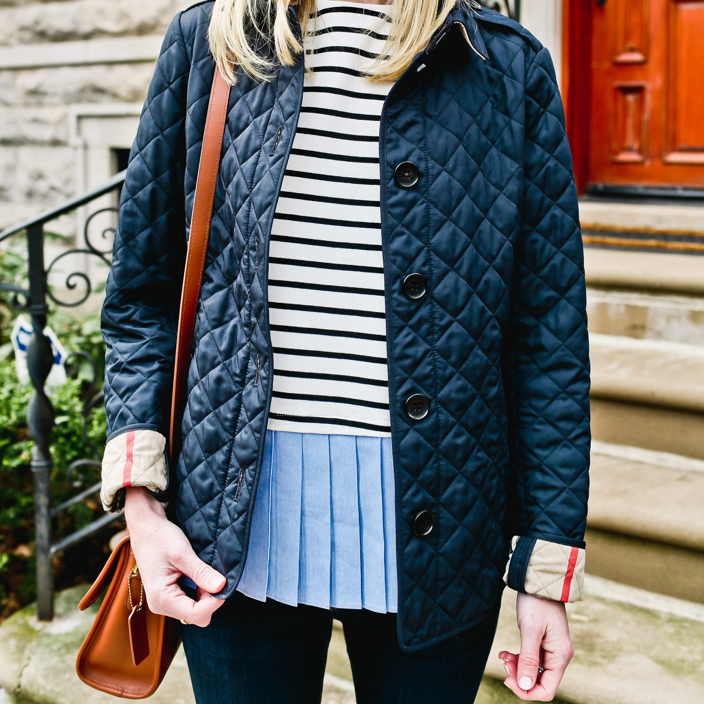 Pleated Top / Bow Mules  / Burberry Jacket