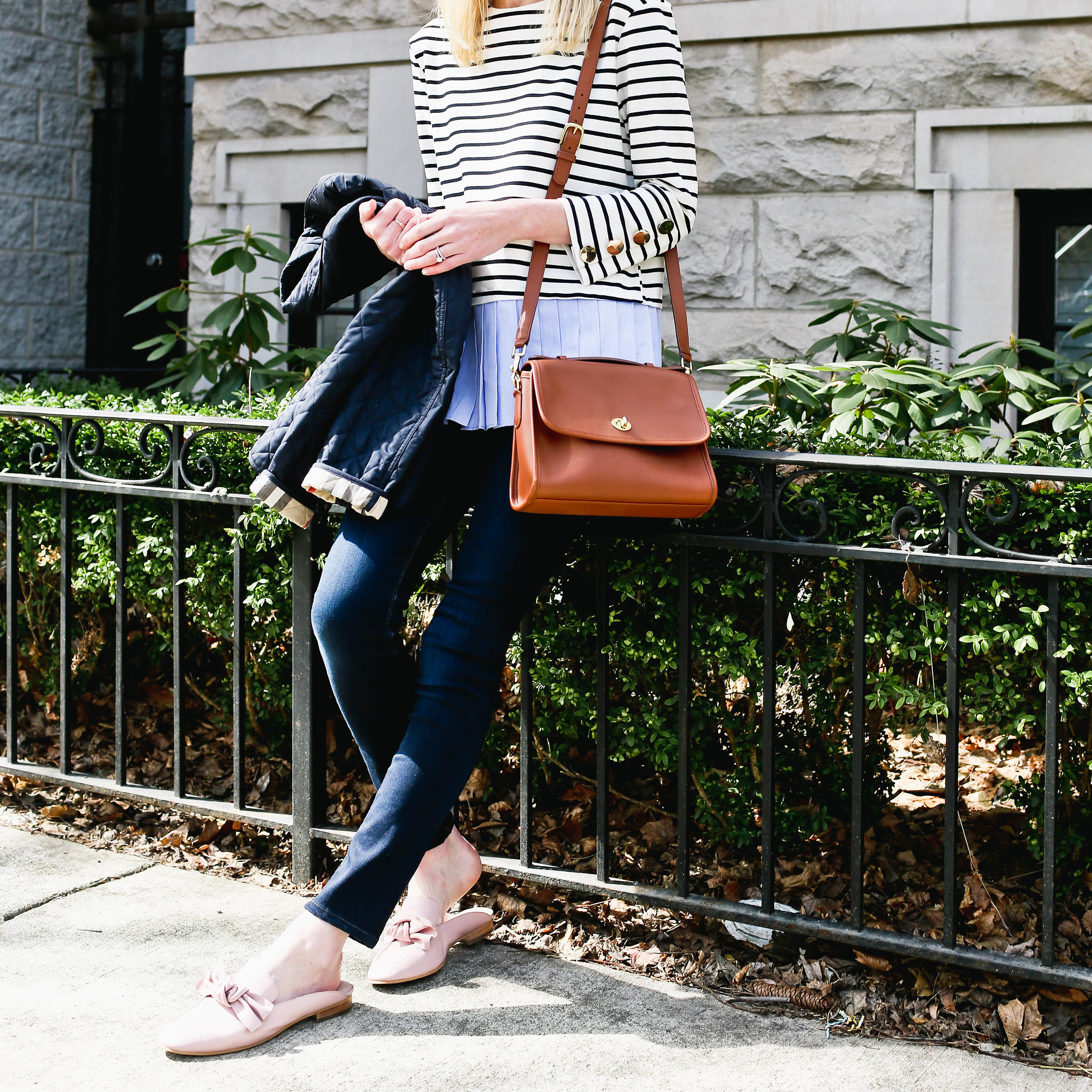 Pleated Top / Bow Mules  / Burberry Jacket / Coach Bag / Hudson Jeans