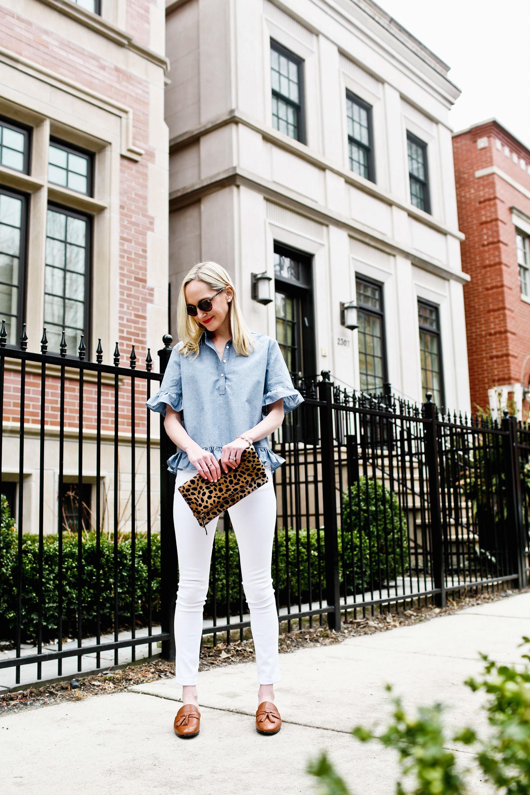 Chambray Ruffled Top / Rag & Bone Jeans / Sam Edelman Loafers / Clare V. Clutch / Kendra Scott Bracelet