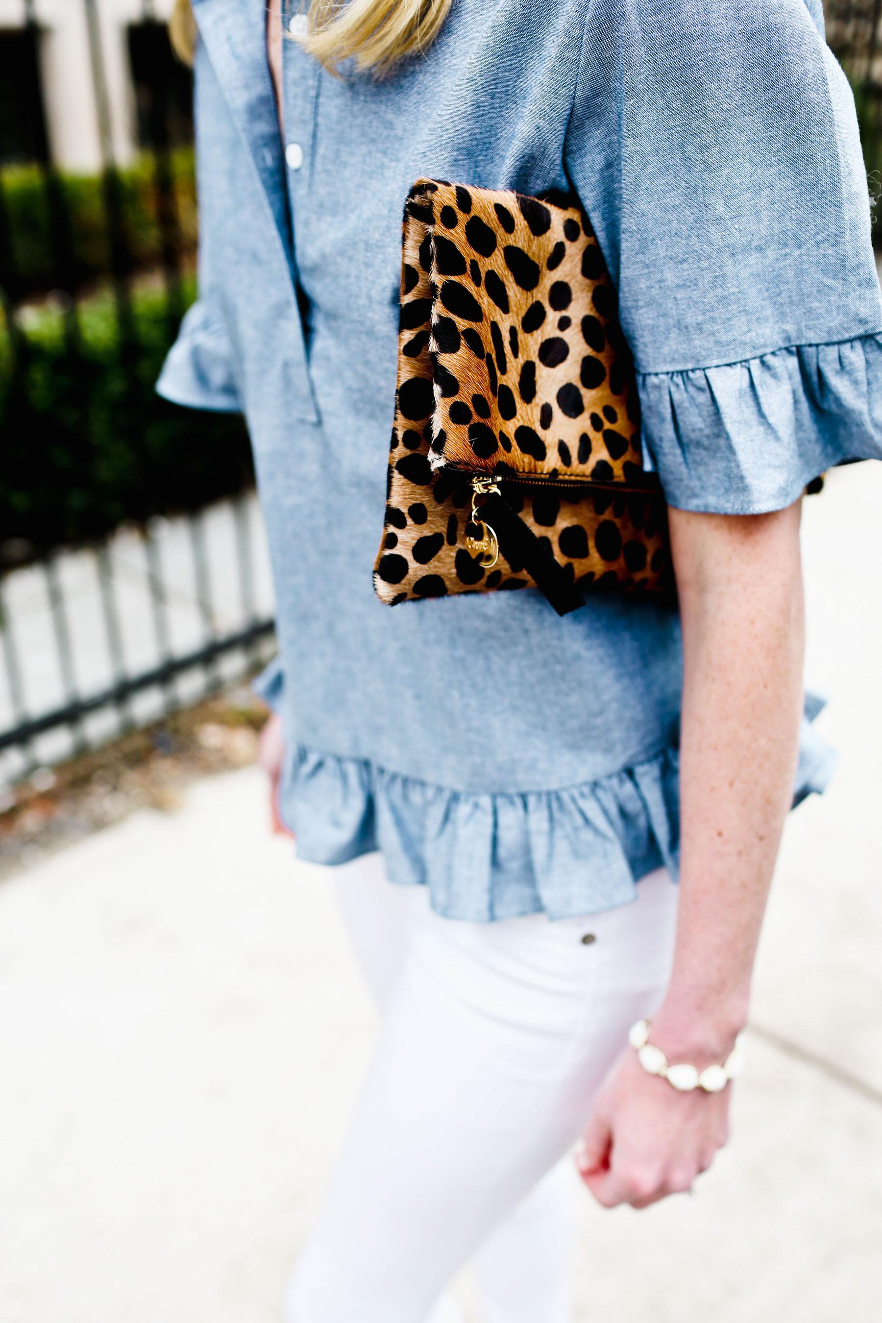 Chambray Ruffled Top / Rag & Bone Jeans / Clare V. Clutch / Kendra Scott Bracelet