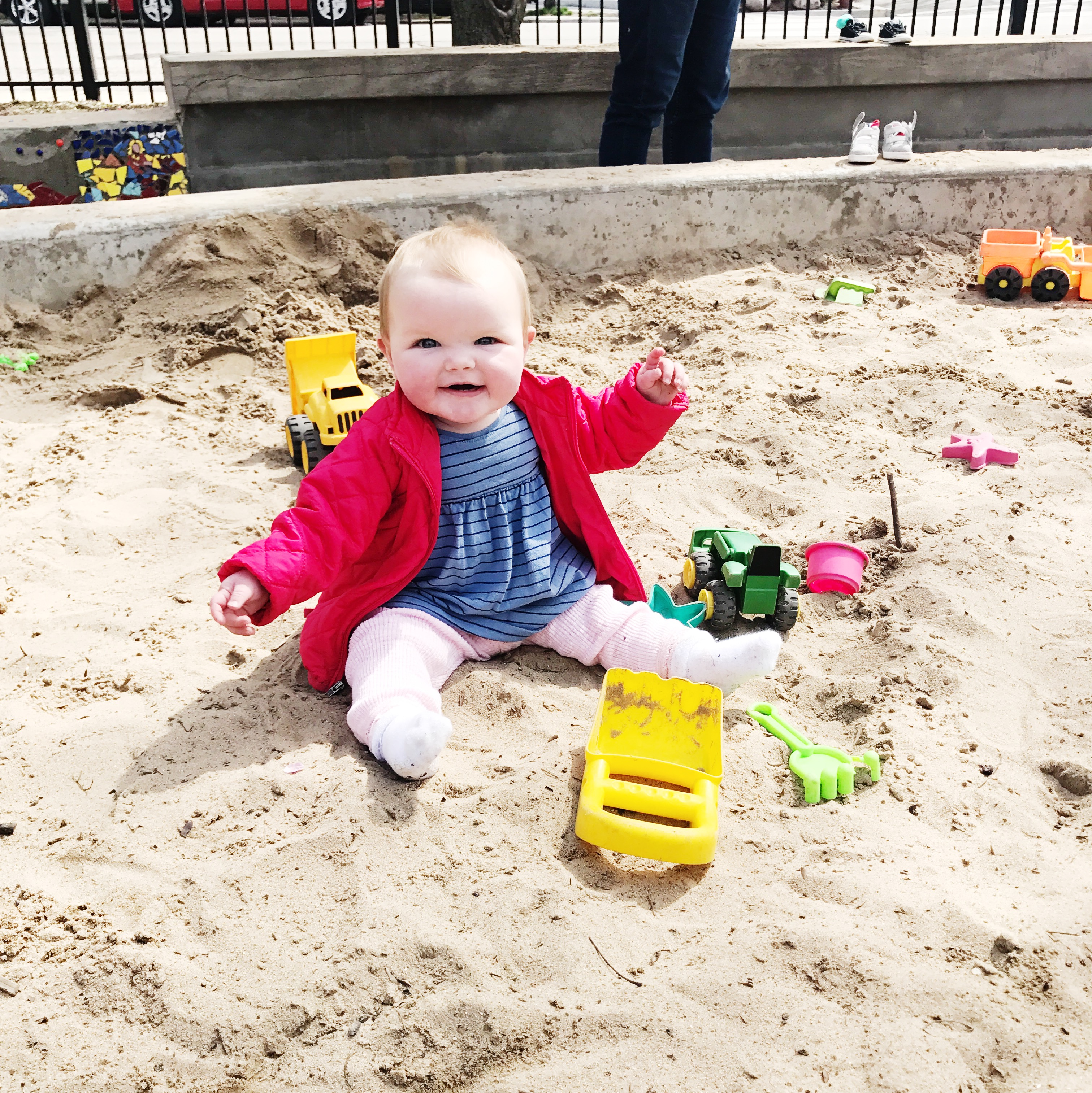 Emma's been having so much fun in the sandbox in a nearby park lately. She's made a ton of friends, and hasn't eaten too much sand. Miracle!