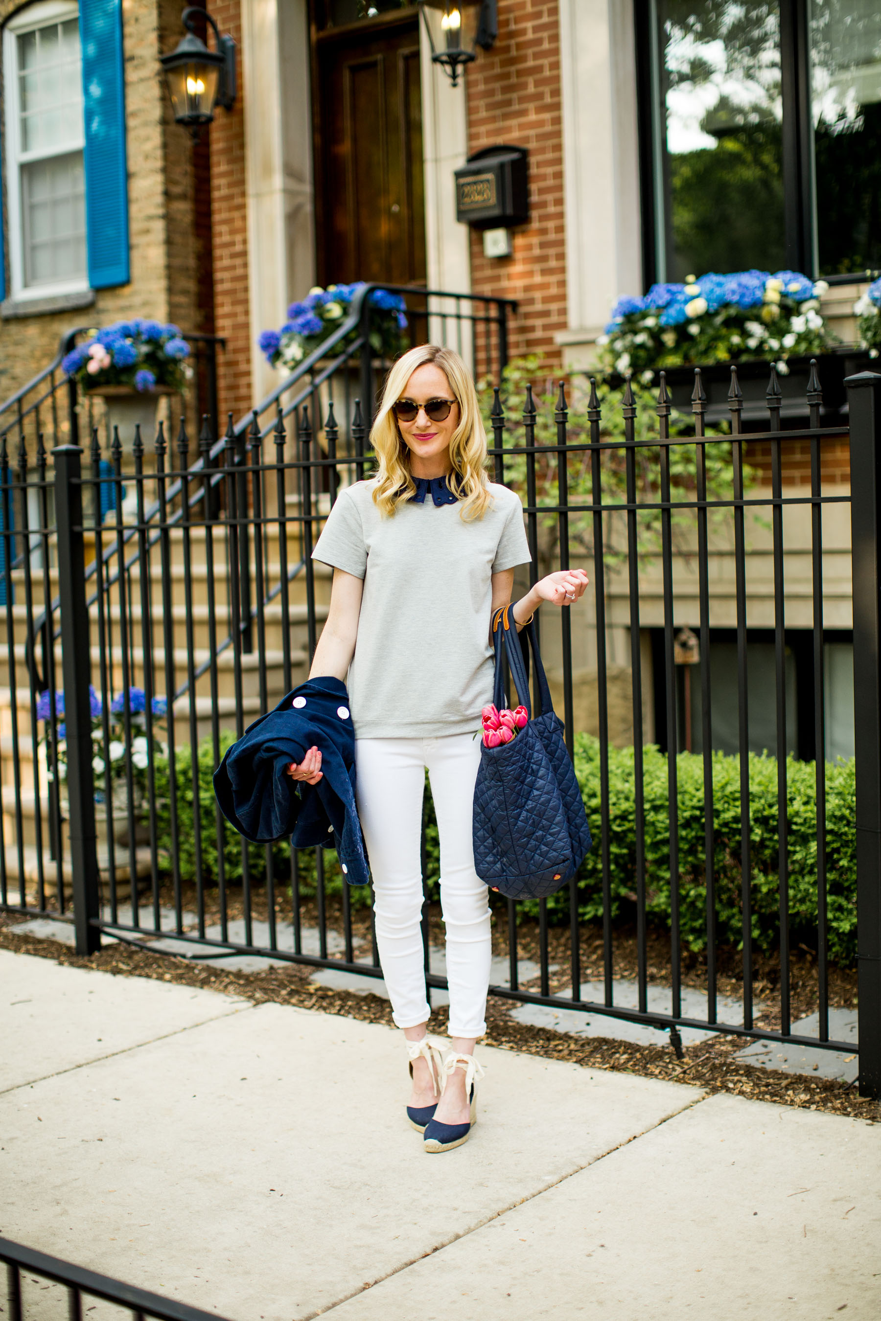 Eyelet Collar Top / Quilted Tote / Navy Espadrilles / New White Jeans / Replacement Sunglasses Exist / Monica Vinader Bracelet