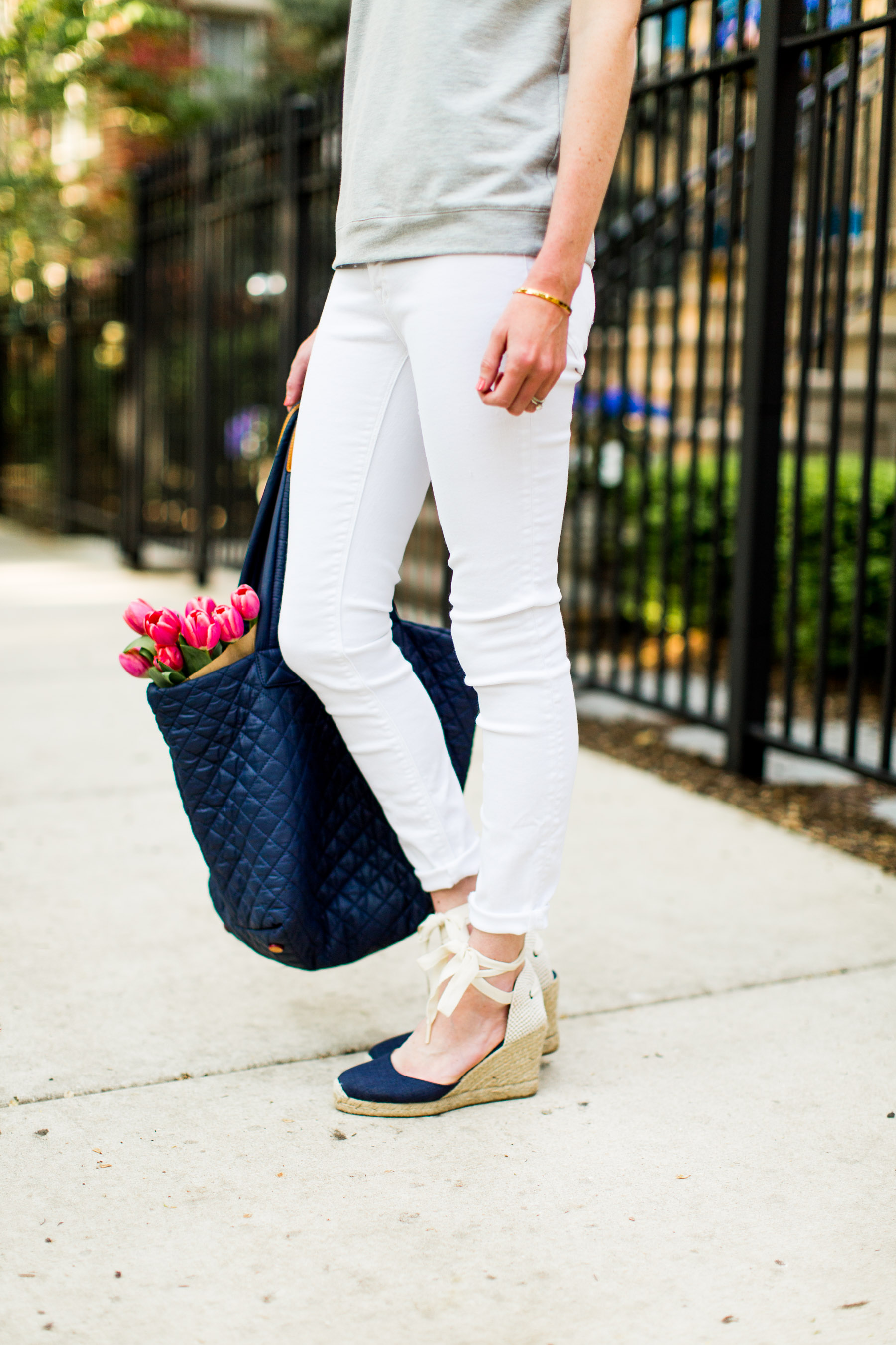 Eyelet Collar Top / Quilted Tote / Navy Espadrilles / New White Jeans / Monica Vinader Bracelet